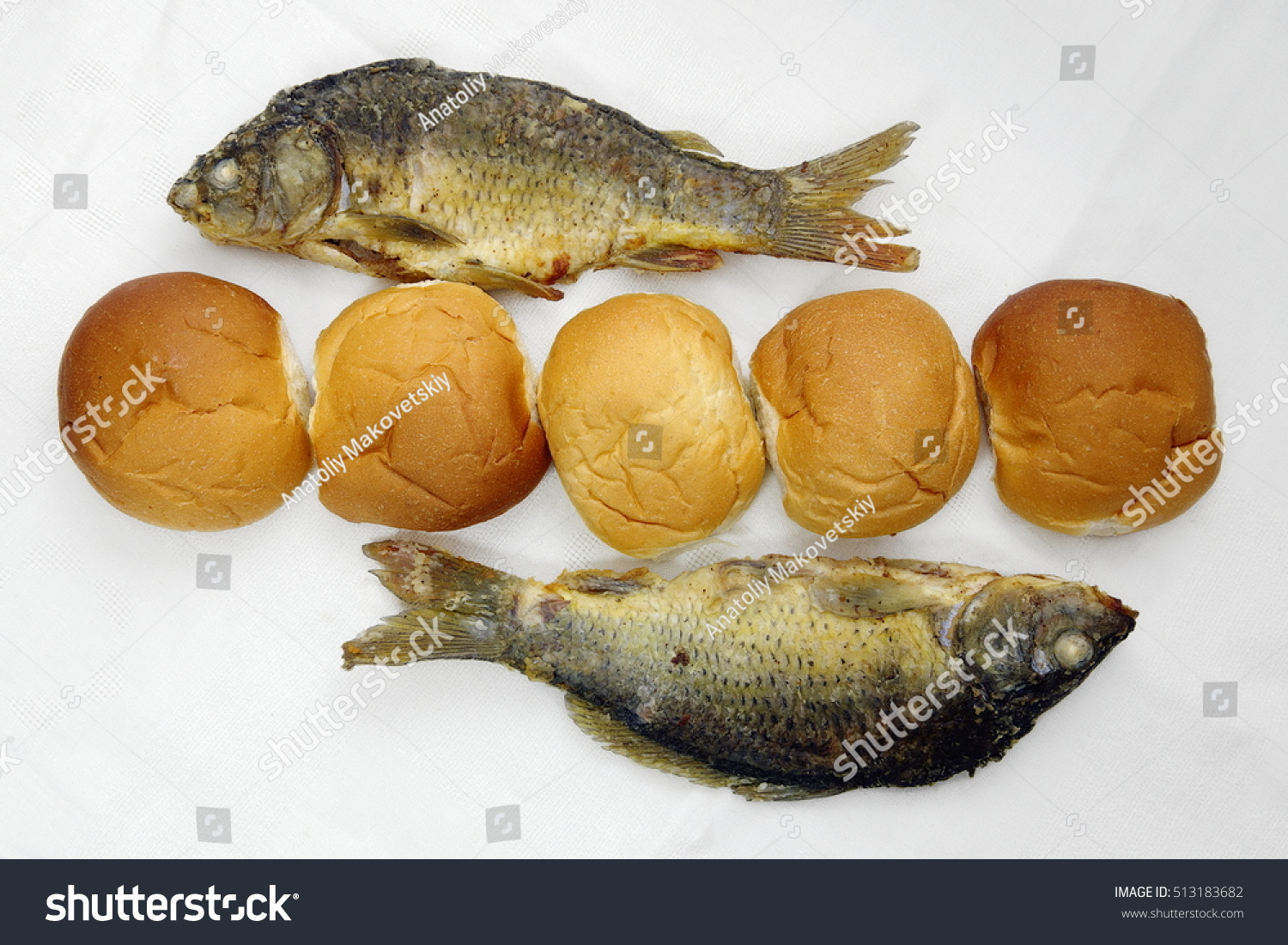 Five loaves two fishes stock photo 513183682 shutterstock for Five loaves two fish