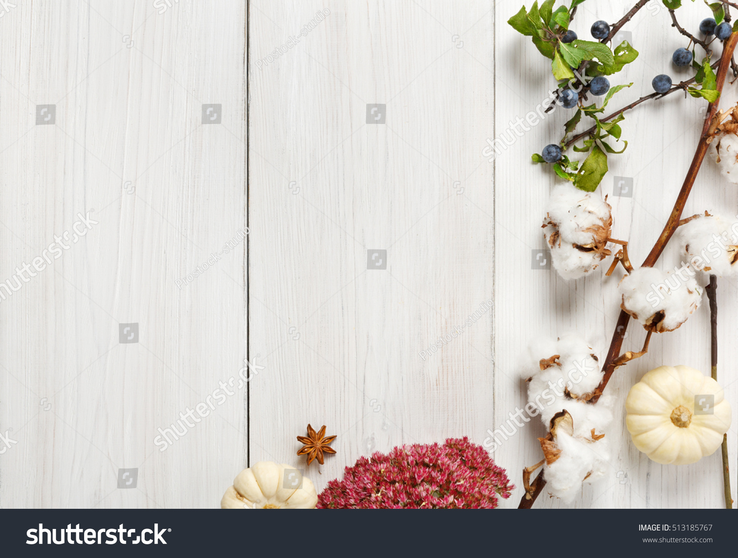 Autumn Composition Background Border Made Of Dried Fall Flowers Branches And Leaves