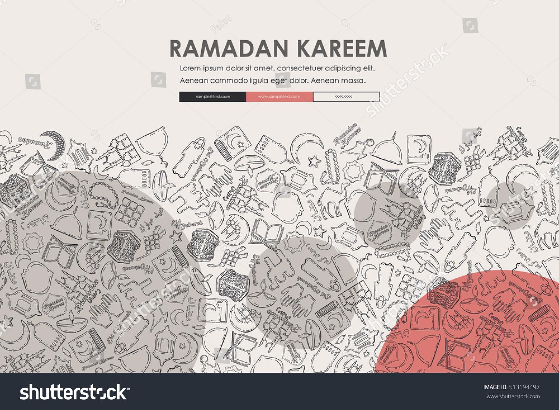 Ramadan Doodle Website Template Design Stock Vector 513194497 ...