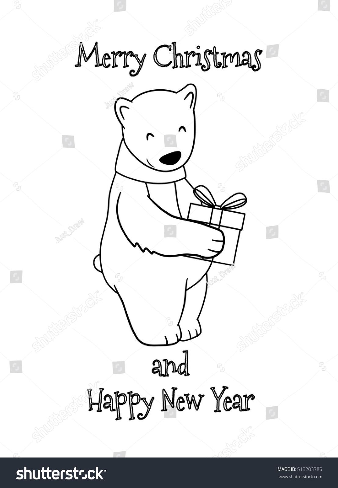 cute cartoon christmas polar bear gift stock vector 513203785
