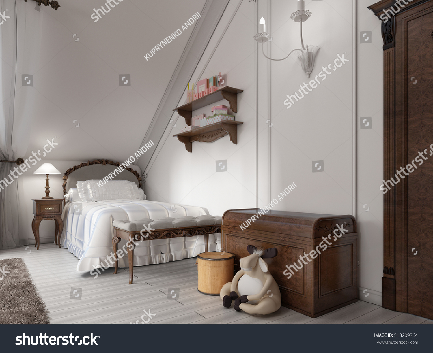 Classic Bed In A Childs Bedroom With Night Table Lamp And Toy Chest 3D