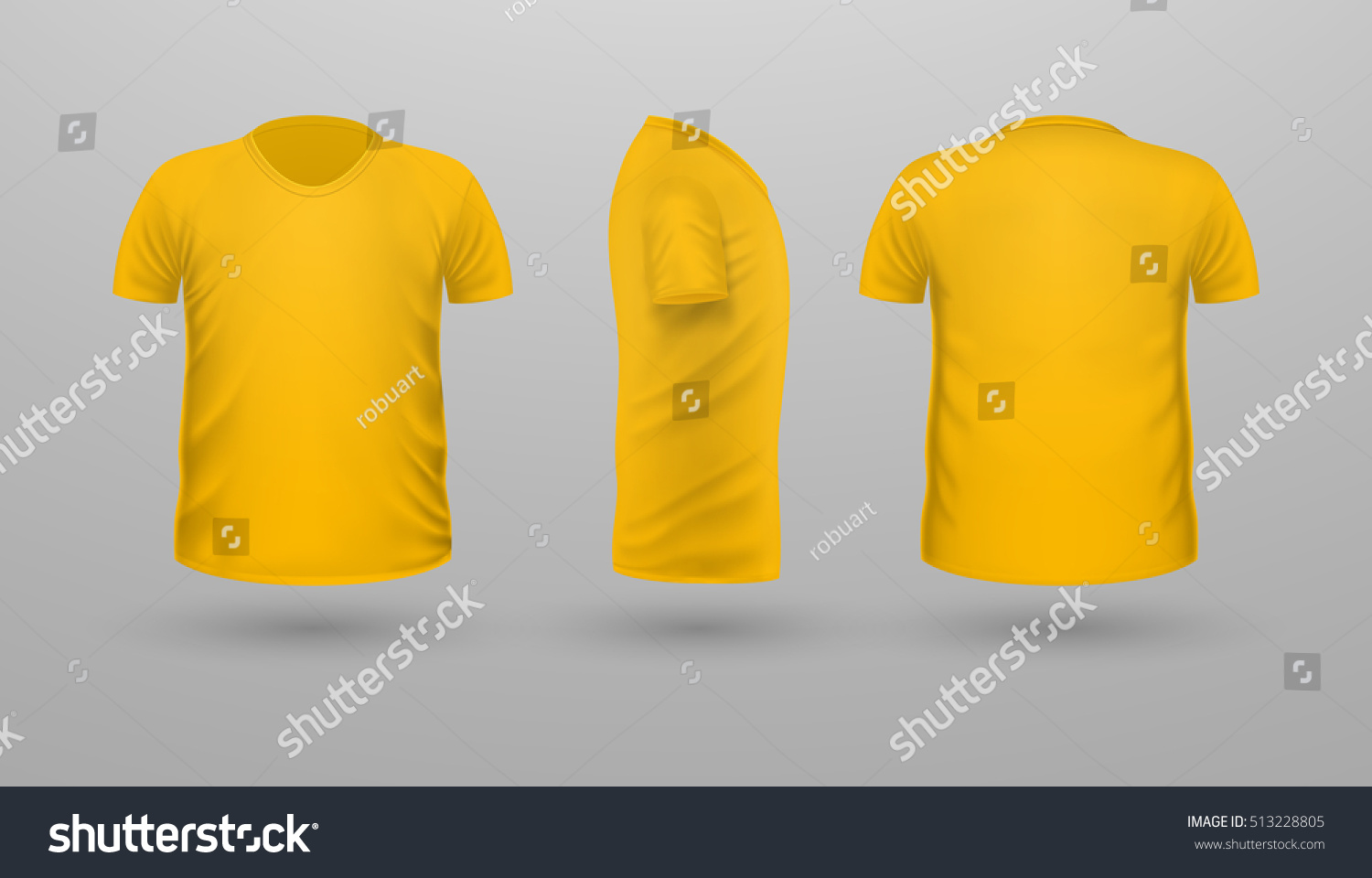 Tshirt Template Set Front Side Back Stock Vector 513228805 ...