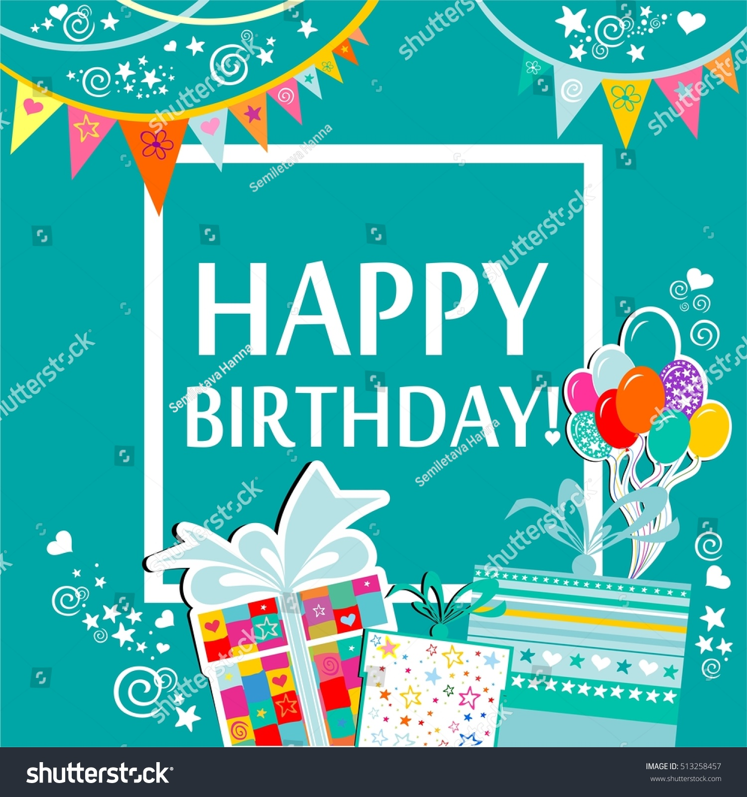 Happy Birthday Greeting Card Celebration Background Stock Vector