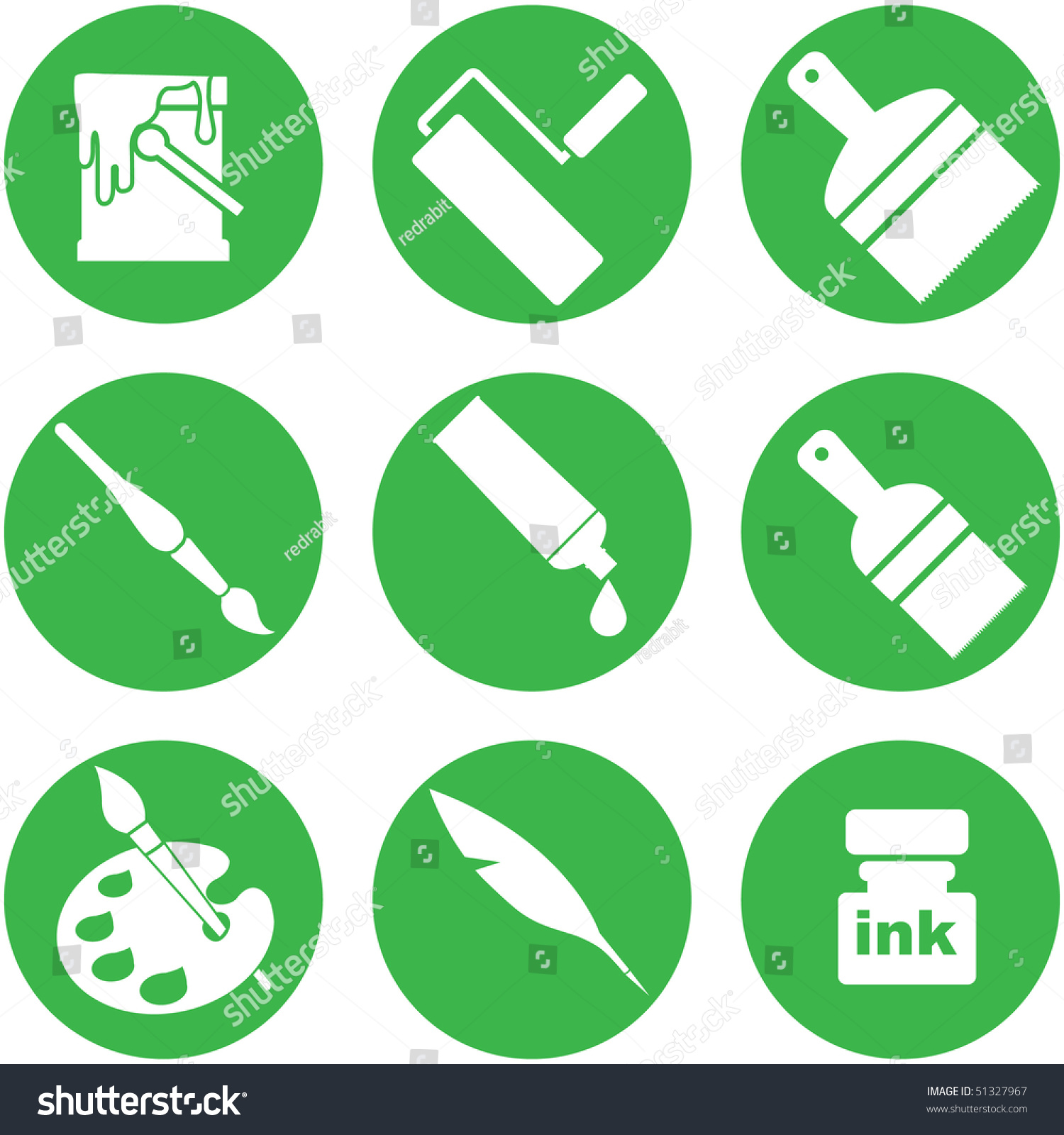 Drawing Painting Tools Icons Stock Vector 51327967
