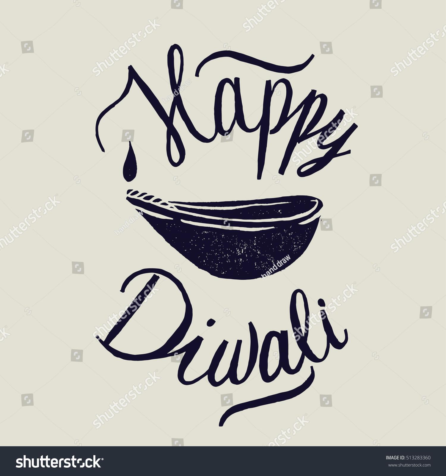 Happy diwali lamp calligraphy stock vector illustration