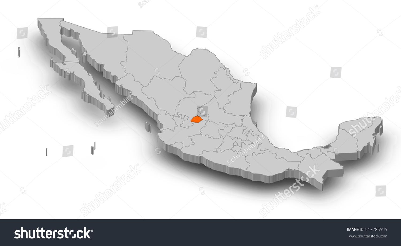 map mexico aguascalientes 3dillustration stock illustration