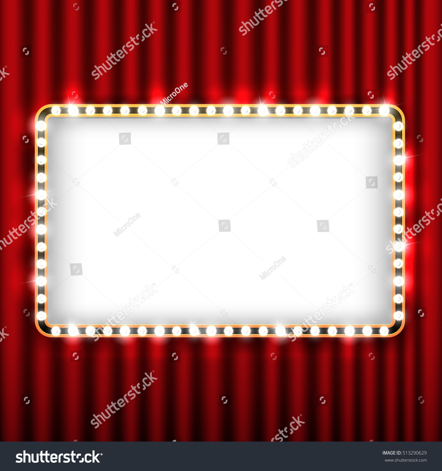 Theater Scene Red Curtain Sign Gold Stock Illustration 513290629 ...