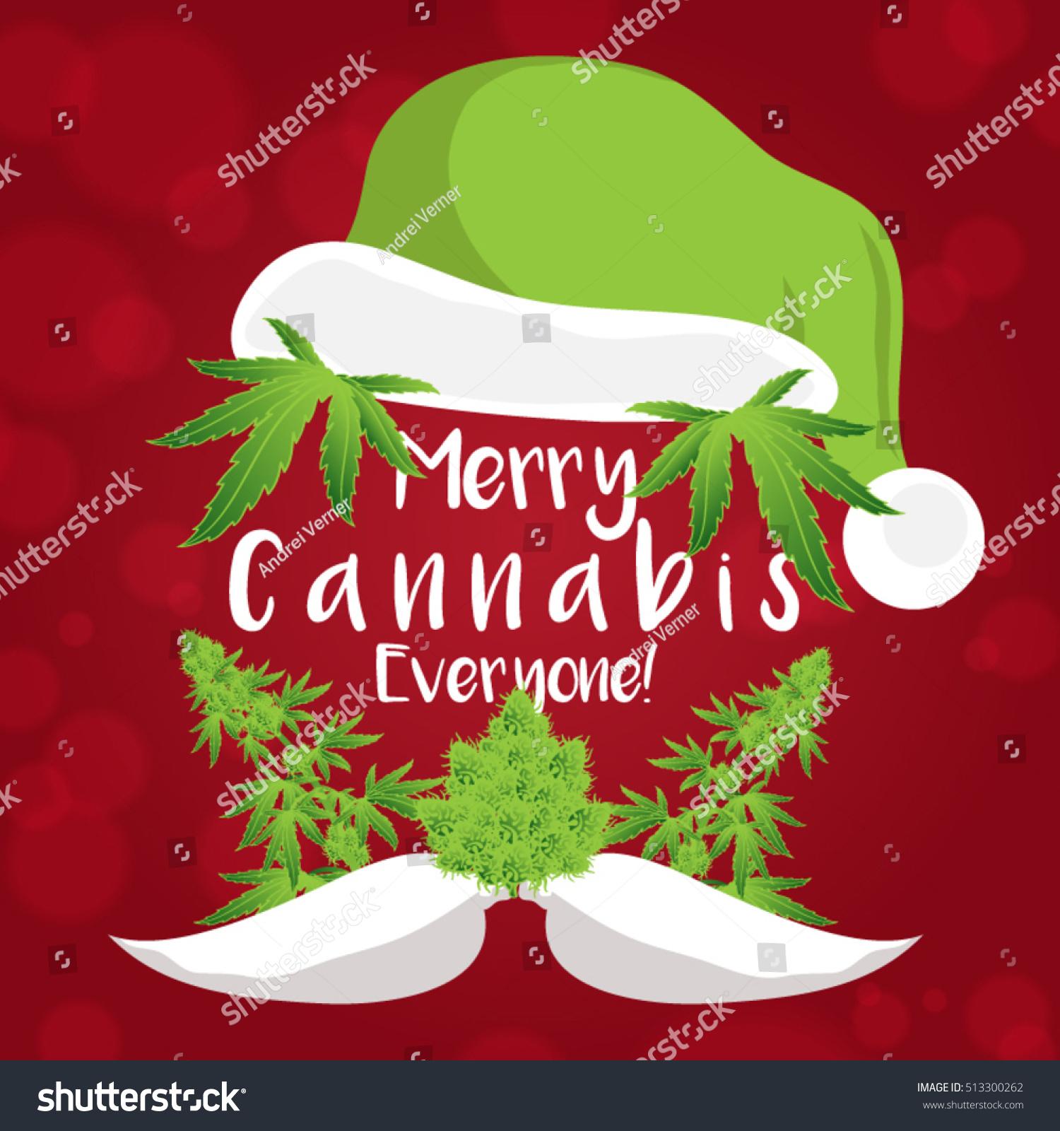 Merry christmas cannabis marijuana plant santa stock