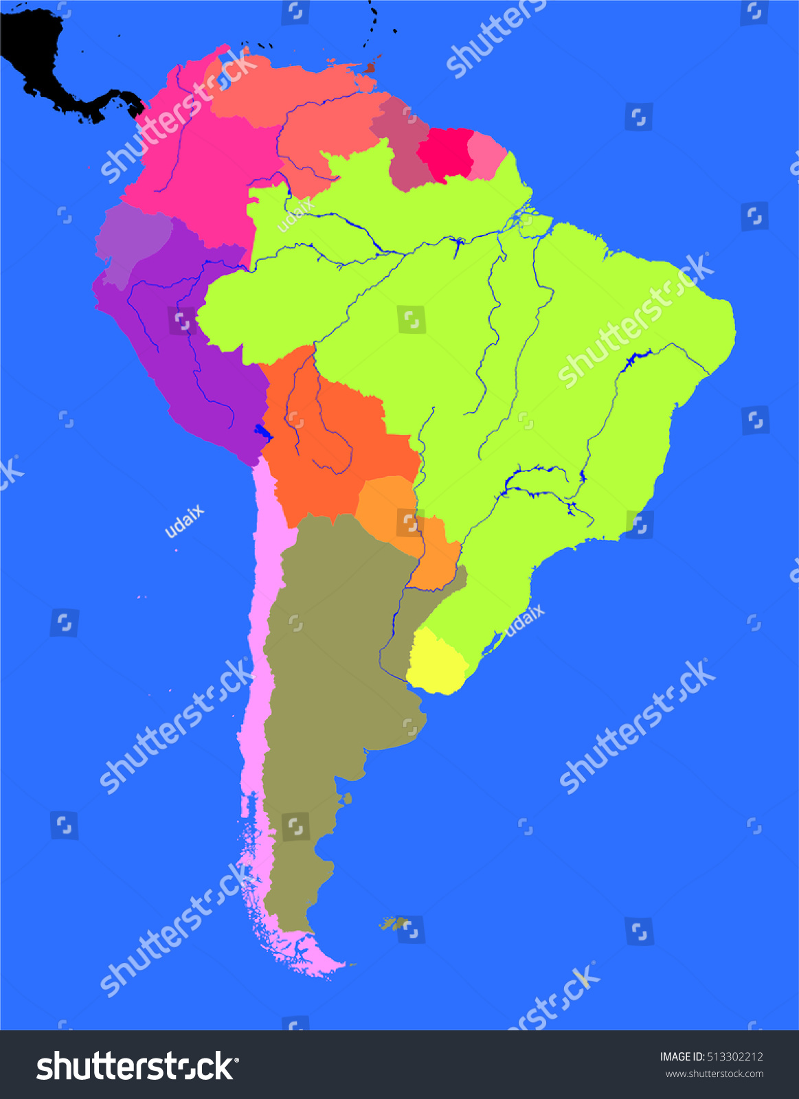 South America Political Map Stock Illustration 513302212 Shutterstock