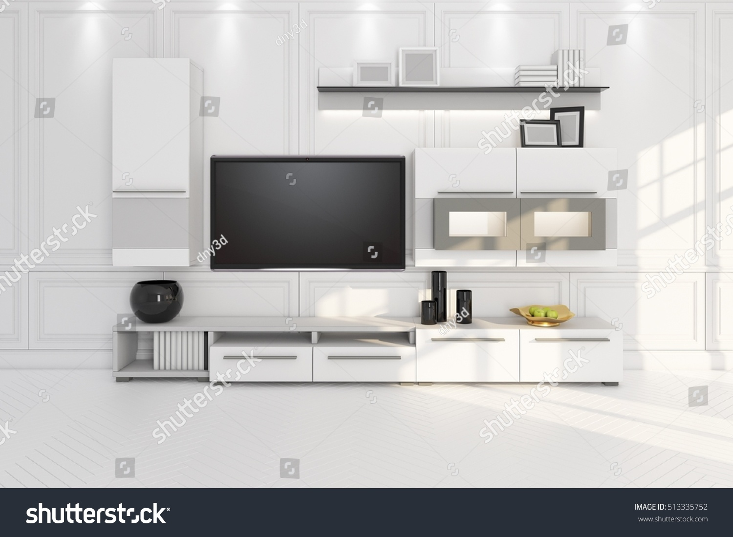 Living Room TV Furniture Shelf 3 D Stock Illustration 513335752 ...