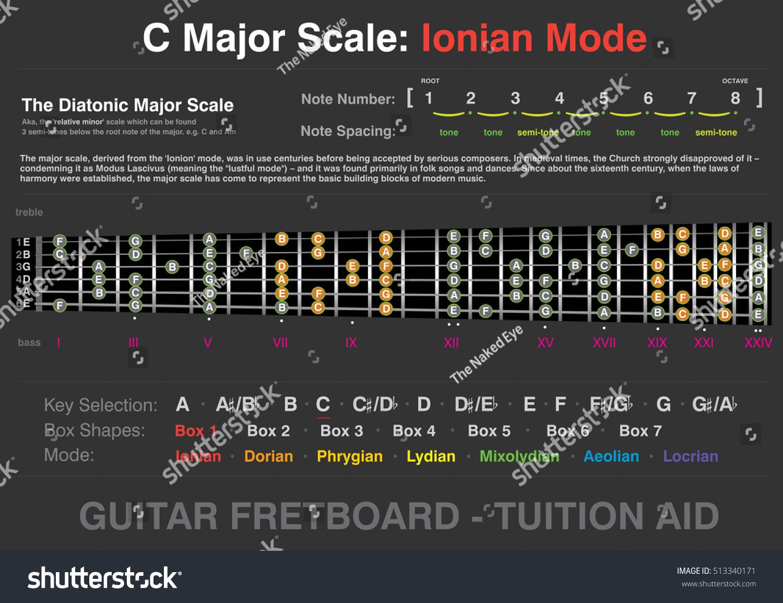 C Major Ionian Mode Guitar Fretboard Stock Vector 513340171 ...