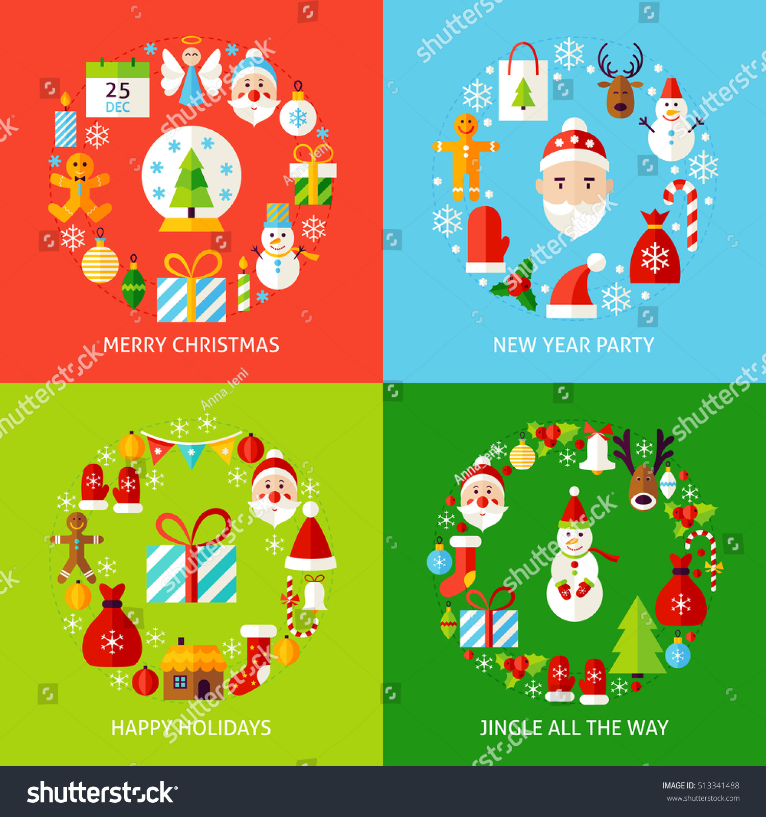 Merry Christmas Concepts Set Flat Design Vector Illustration Collection Of Winter Holiday Posters