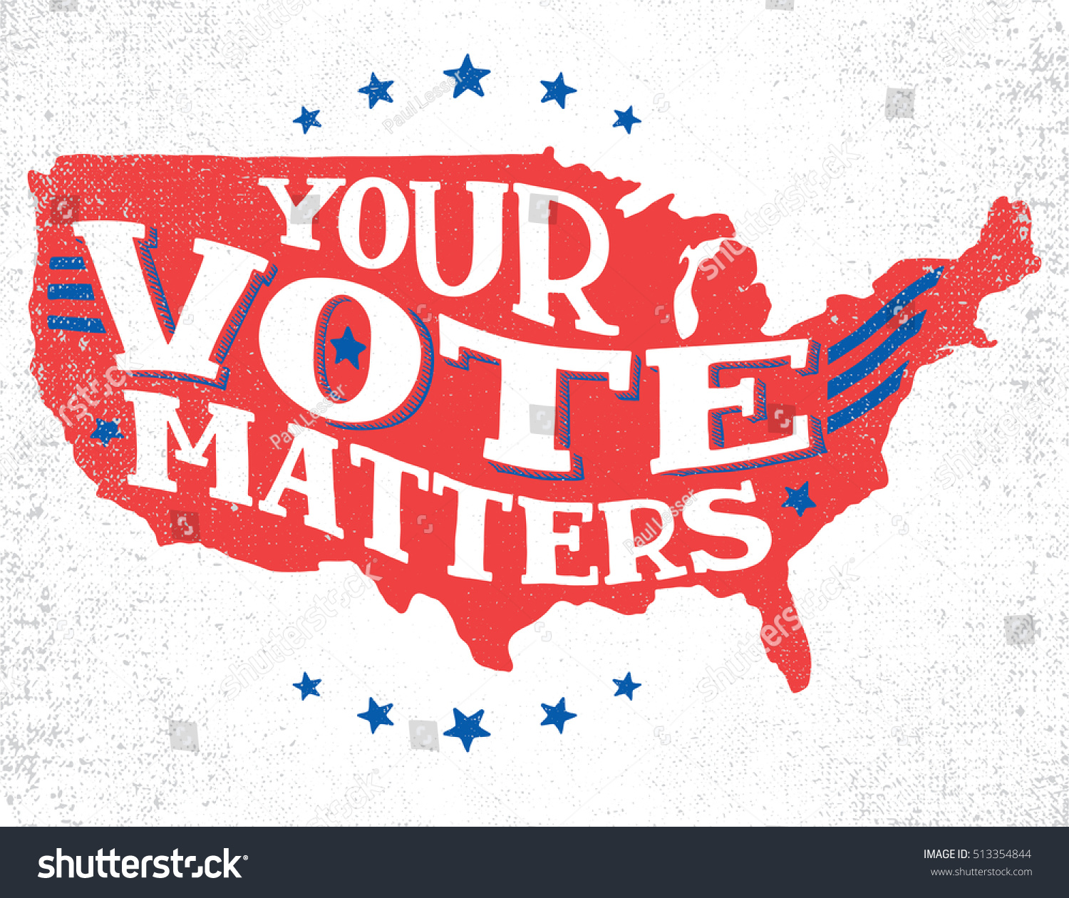 Your Vote Matters American Election Handlettering Stock Vector - Us map white silhouette