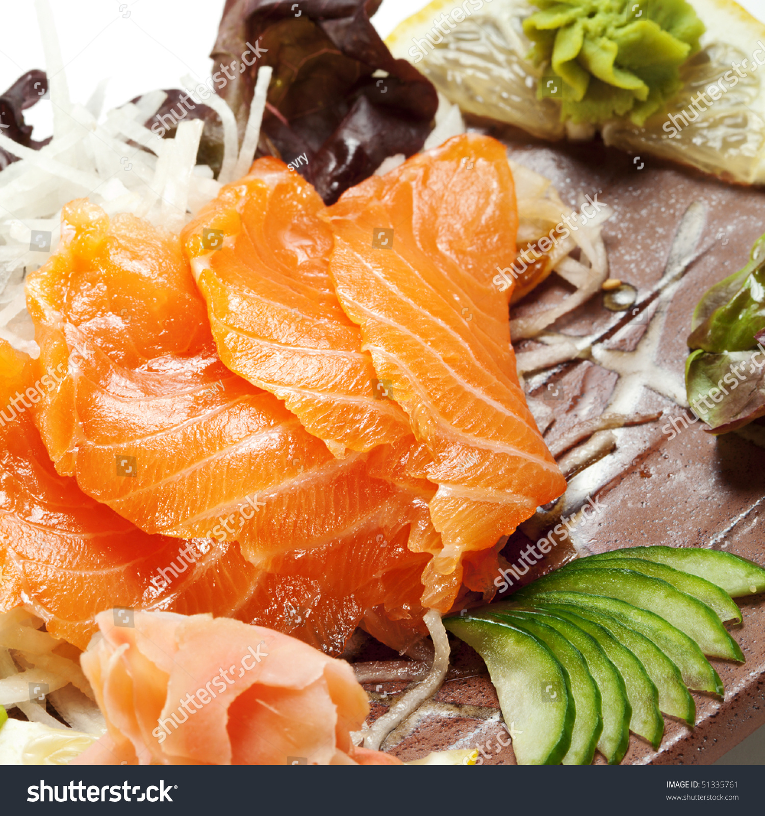 Salmon Sashimi - Sake (Fresh Raw Salmon) On Daikon (White ...