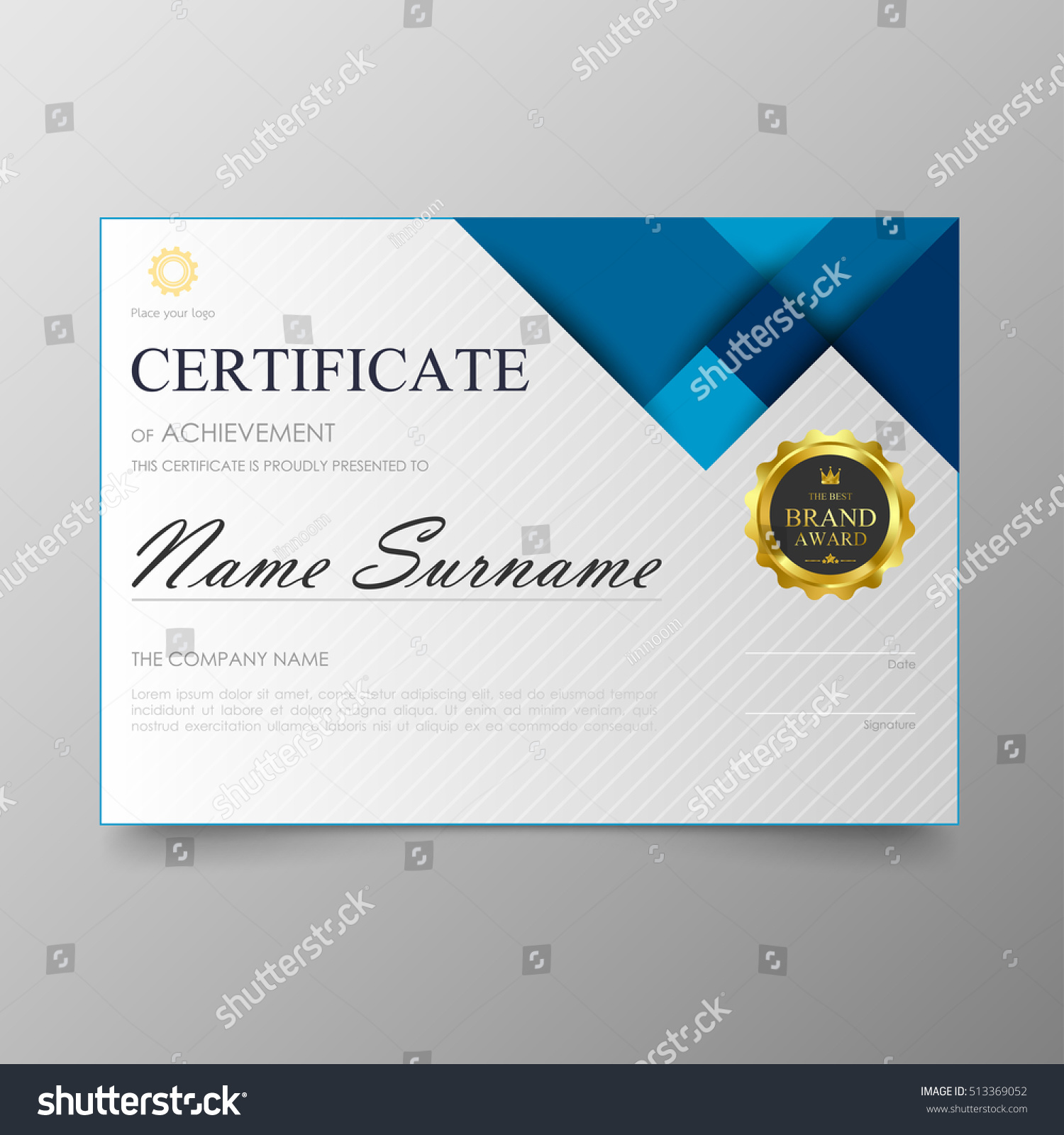 Certificate Template Awards Diploma Background Vector Stock Photo ...