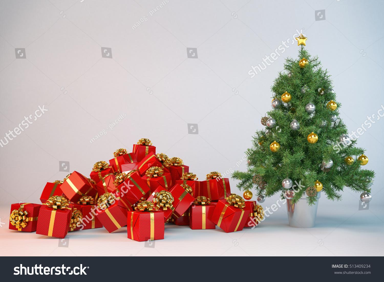 3 D Render Christmas Tree Christmas Presents Stock Illustration ...