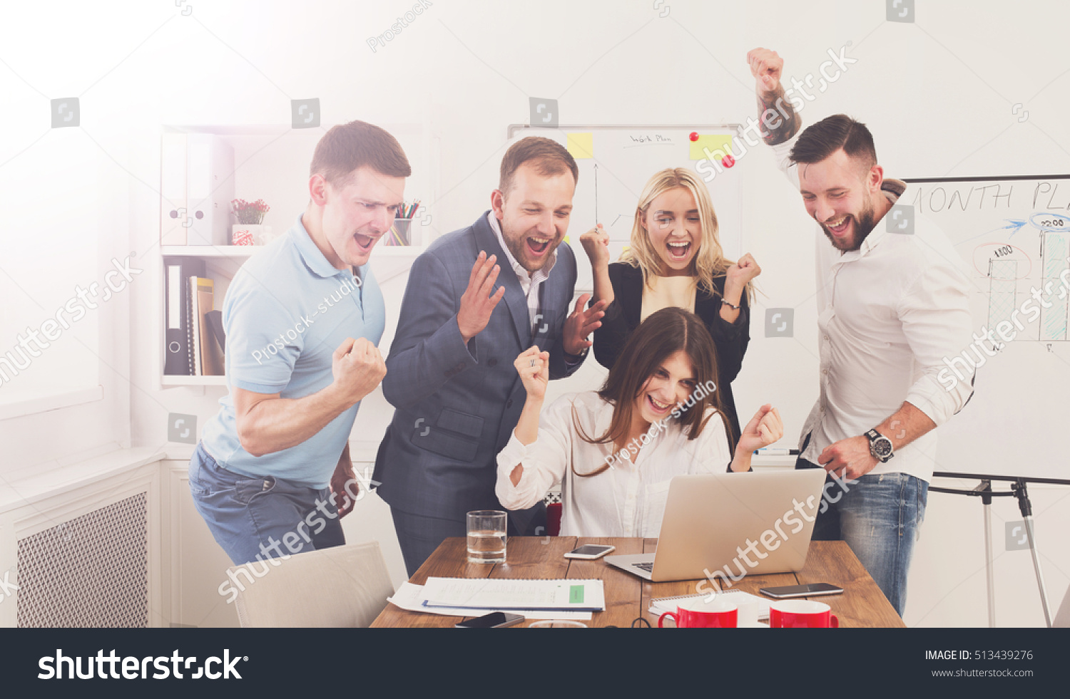 Happy Business People Celebrate Success Looking Stock ...