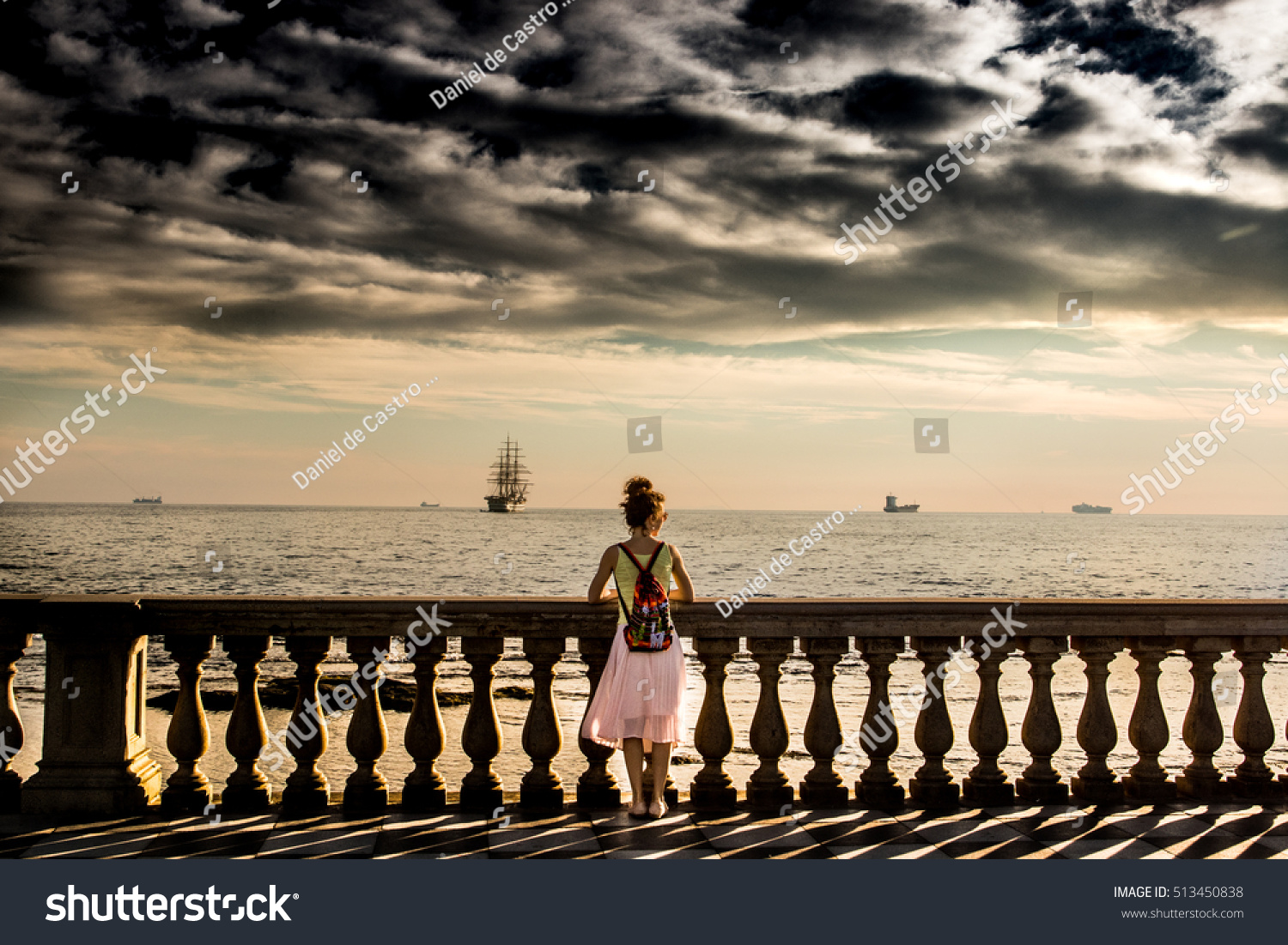 Woman Watching Sunset Terrazza Mascagni Livorno Stock Photo (100 ...