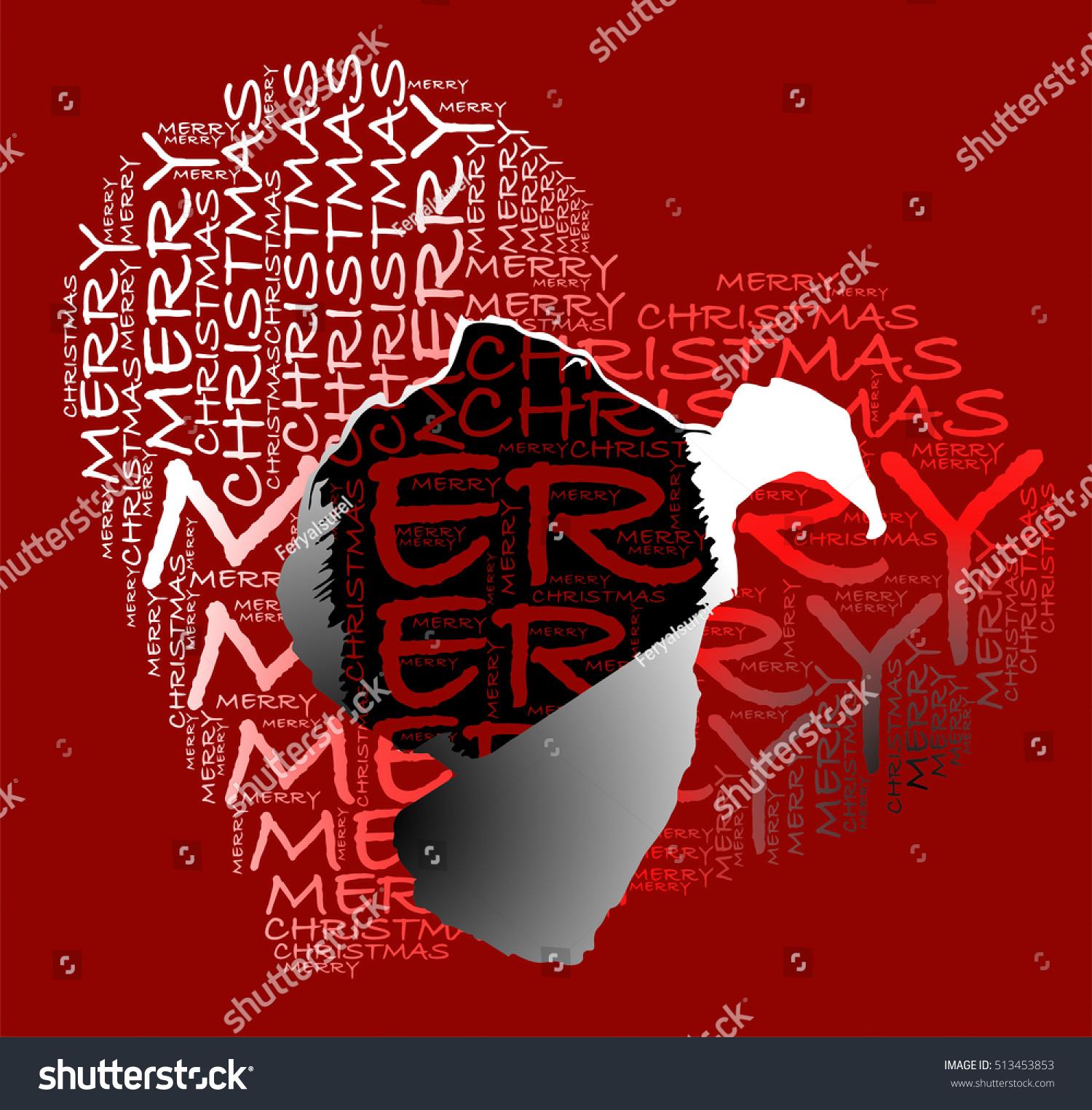 Merry Christmas Text Heart Shape Silhouette Stock Vector (Royalty ...