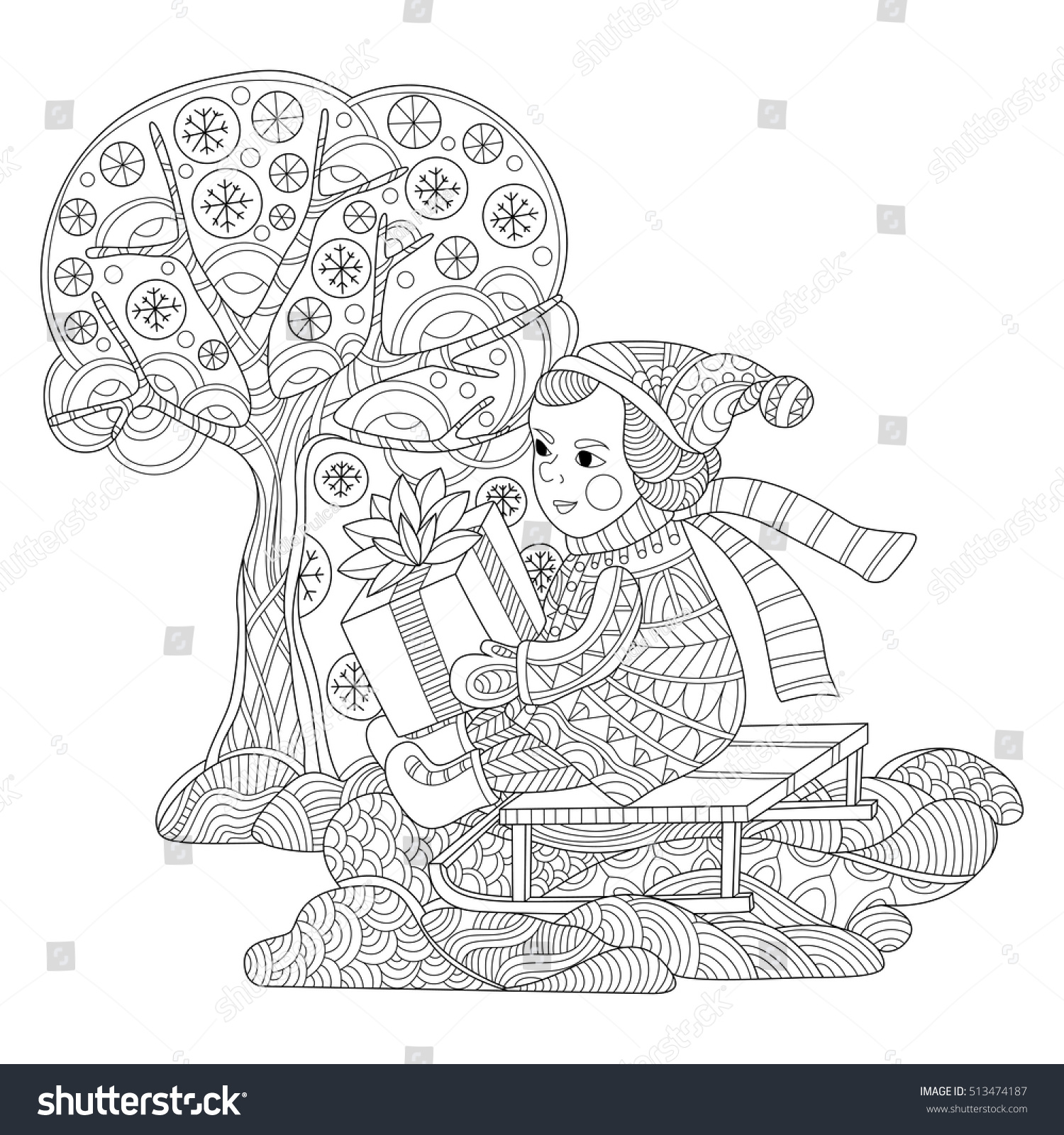 present on sledge coloring page stock vector 513474187