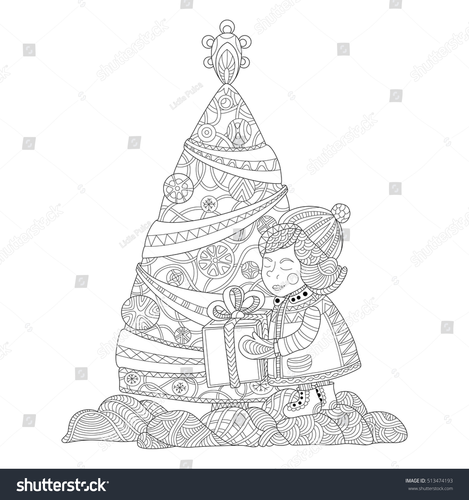 unwrapping christmas gifts coloring page stock vector