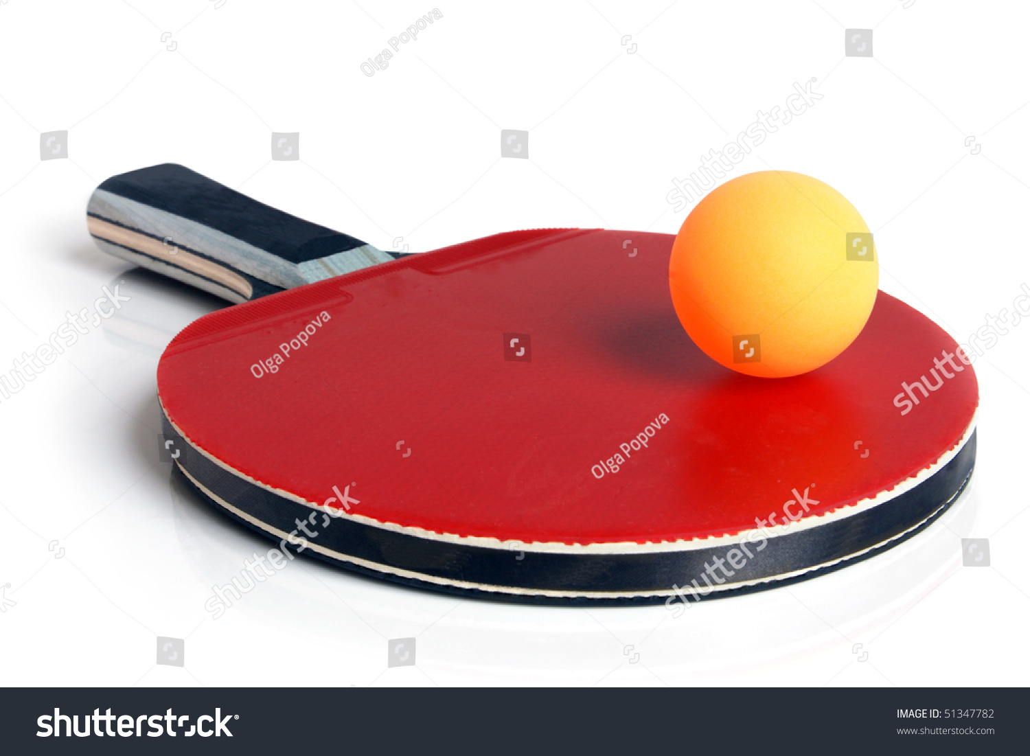 Table Tennis Racket Ball On White Stock Photo 51347782