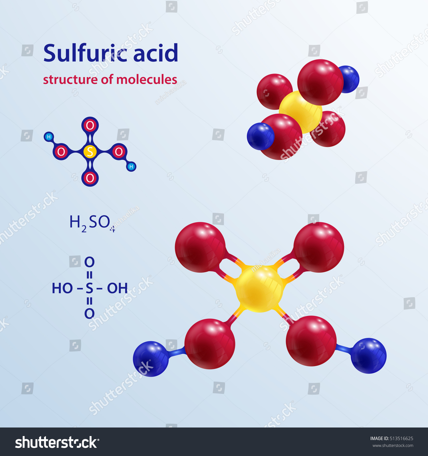 Structure Molecules Sulfuric Acid Molecule Chemical Stock Vector