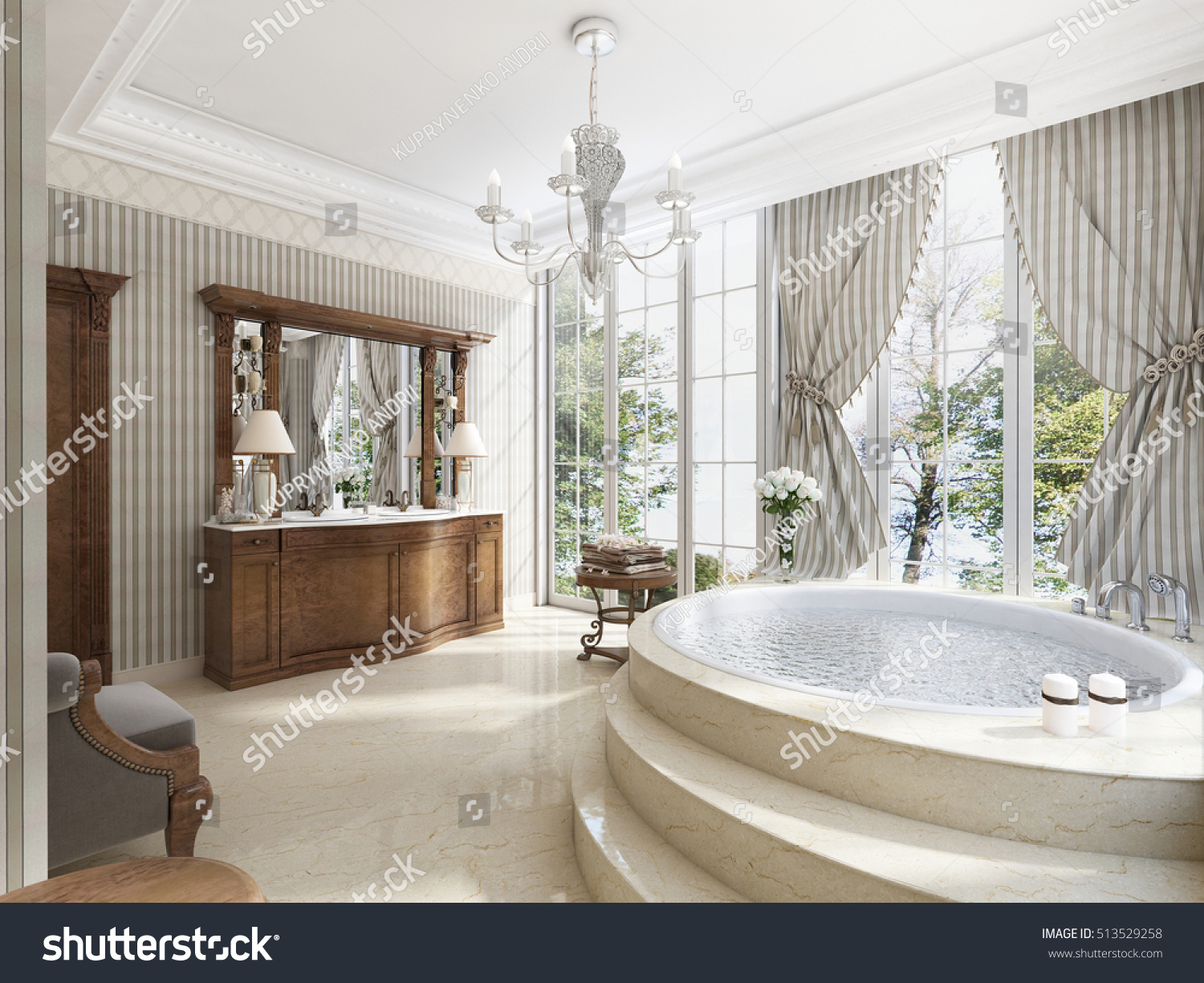 Bathroom Luxury Neoclassical Style Sinks Tubs Stock Illustration ...