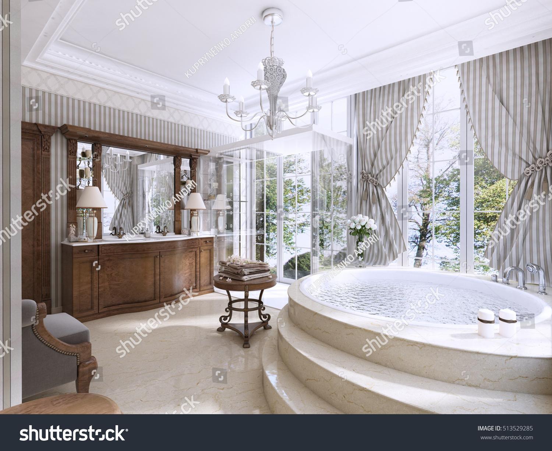 Luxury Bathroom Classic Style Bathroom Jacuzzi Stock Illustration ...