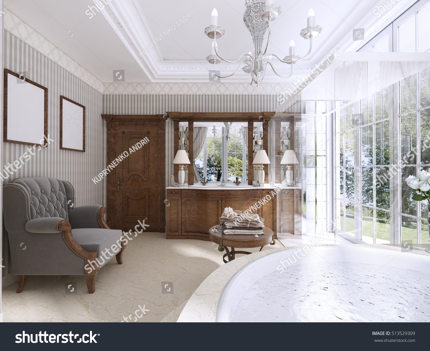 Luxury Bathroom Classic Style Bathroom Jacuzzi Stock Illustration ...