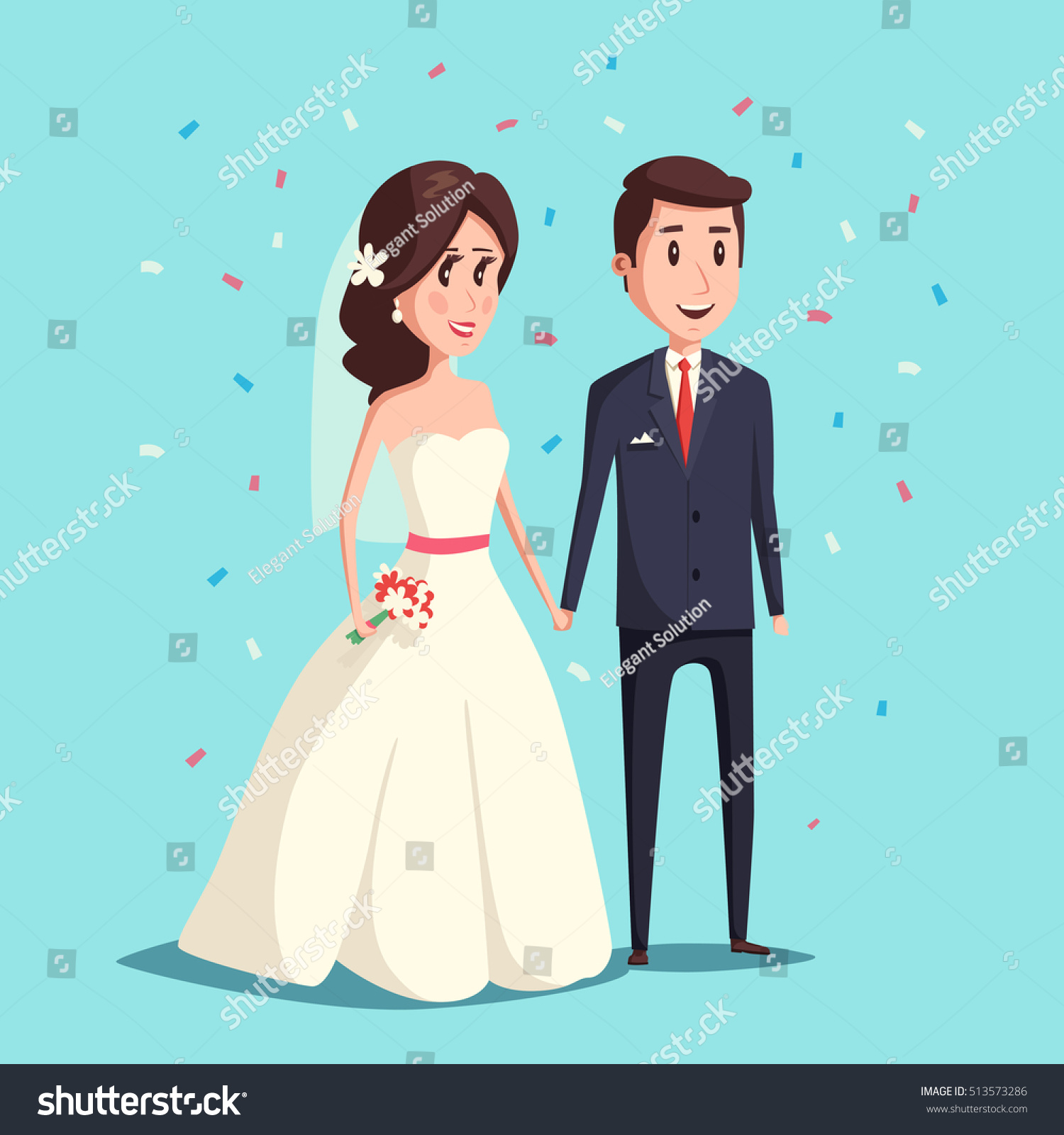 Bride Groom Love Wedding Couple Illustration Stock Vector Royalty Free 513573286