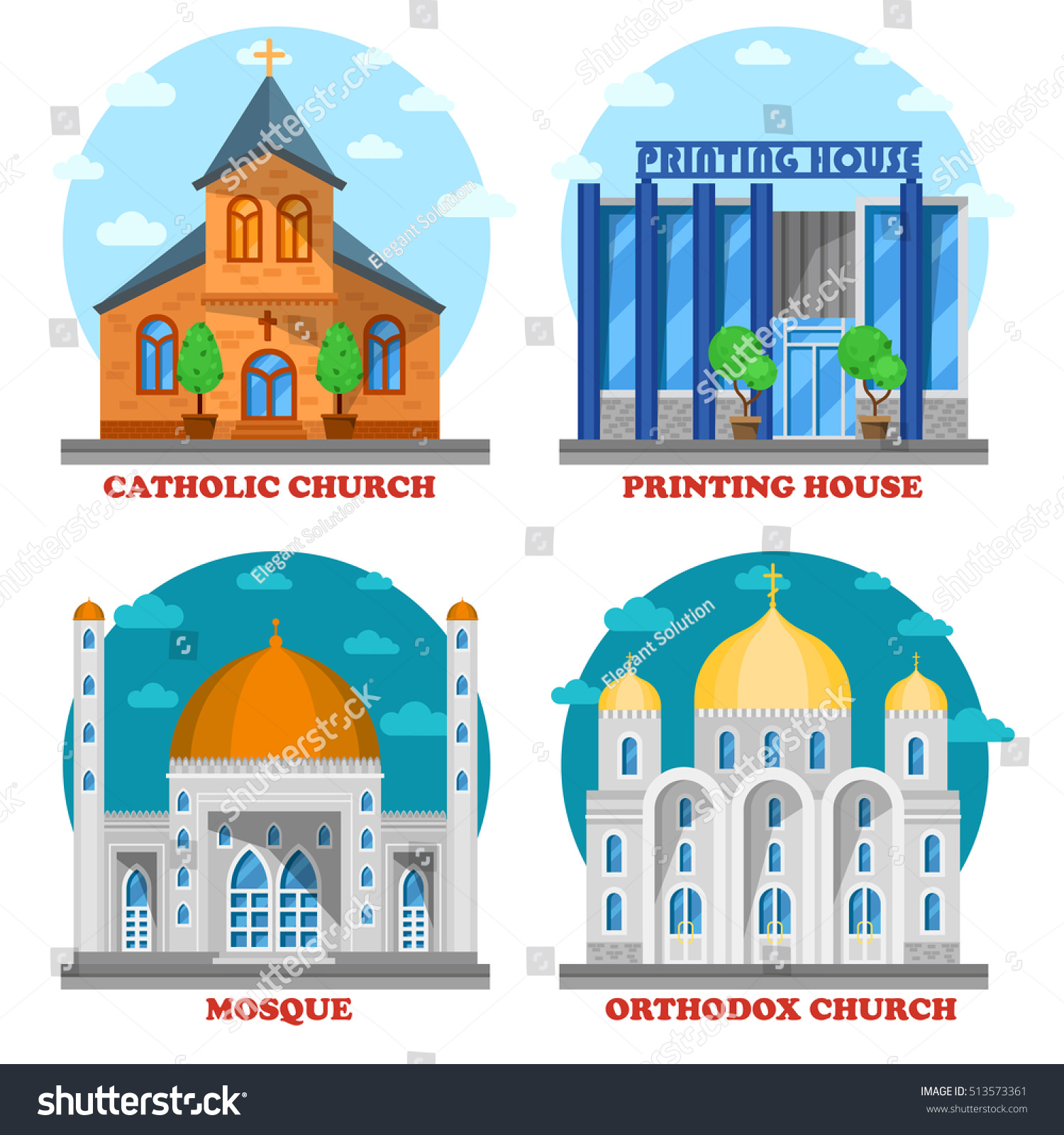 Set of church buildings and printing house facade Muslim mosque for islam ramadan and christian building with cross architecture Islam temple icon or orthodox and catholic God worship faith theme