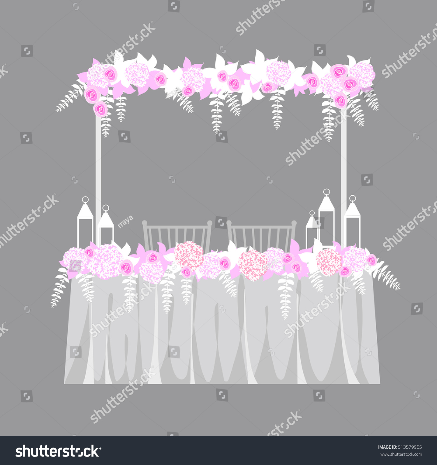 Bride Groom Table Decoration Wedding Table Decoration Table Bride Groom Stock Vector 513579955
