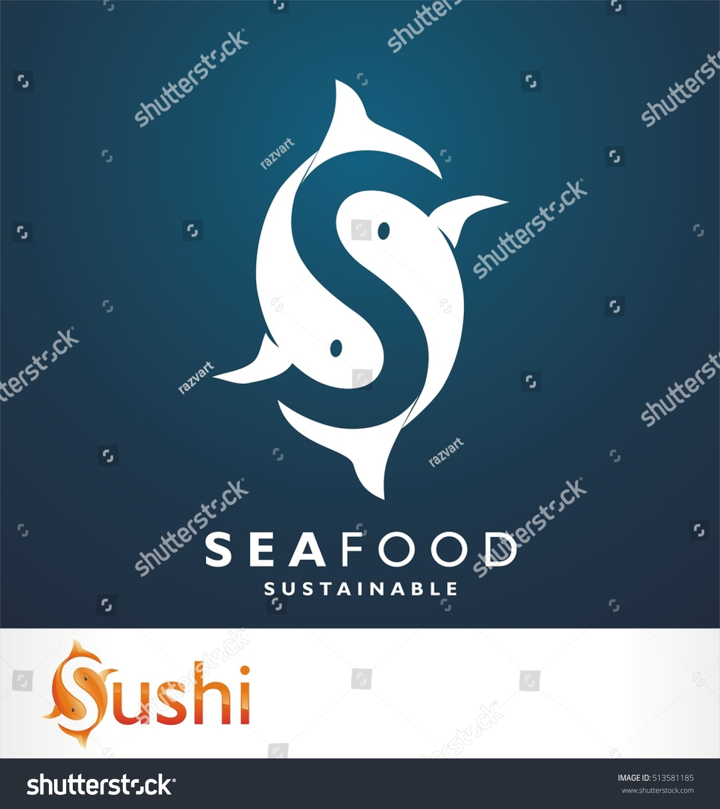 fish symbol fresh seafood logo template stock vector 513581185