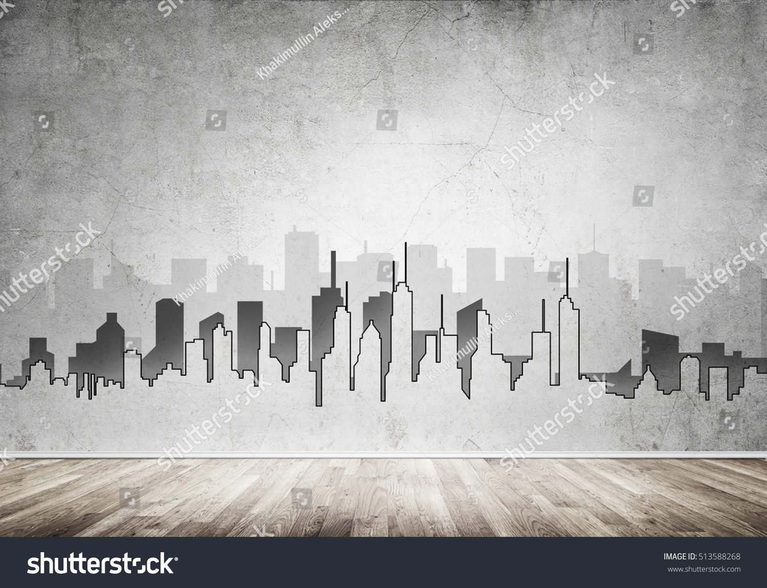 Silhouette Modern City Landscape Drawn On Stock Photo ...