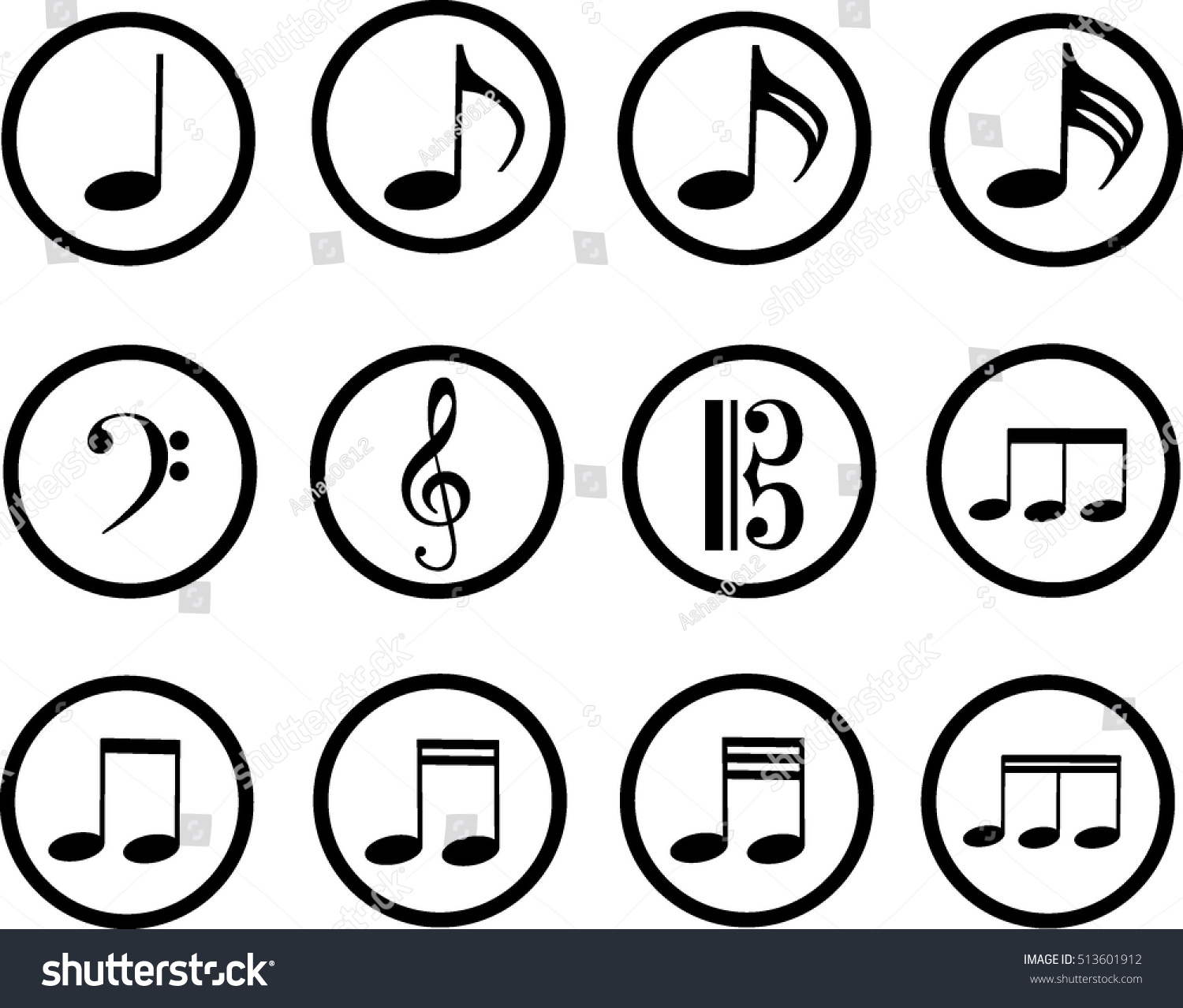 Black icons music treble clef bass stock vector 513601912 black icons of music treble clef and bass clef music symbols vector biocorpaavc Images