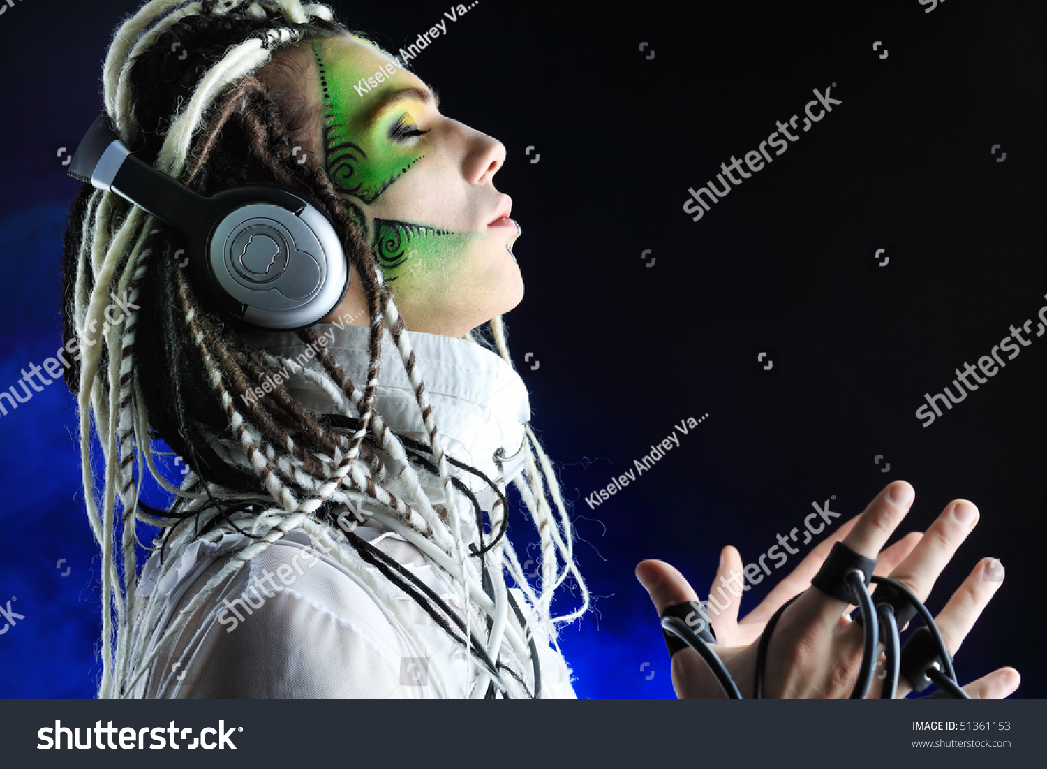 shot of a futuristic young man with wires isolated over