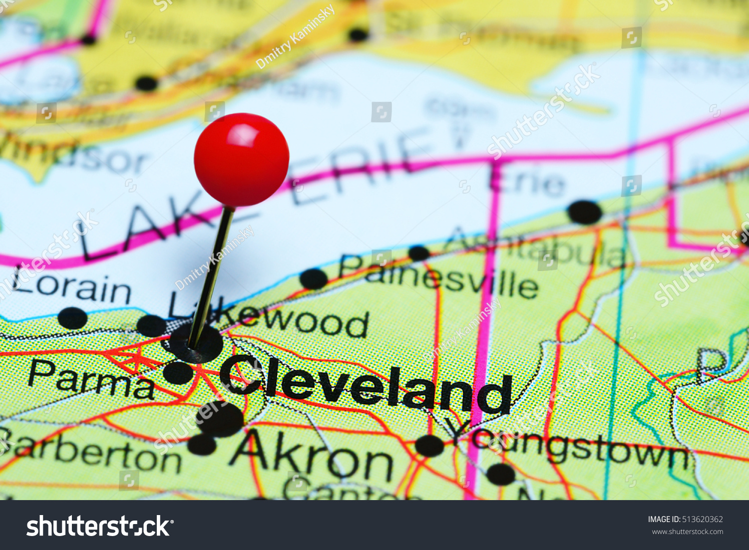 Cleveland Pinned On Map Ohio Usa Stock Photo Edit Now 513620362