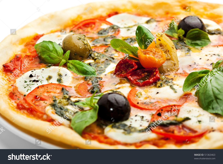 Pizza with Mozzarella Cheese and Fresh Tomato and Pesto Sauce ...