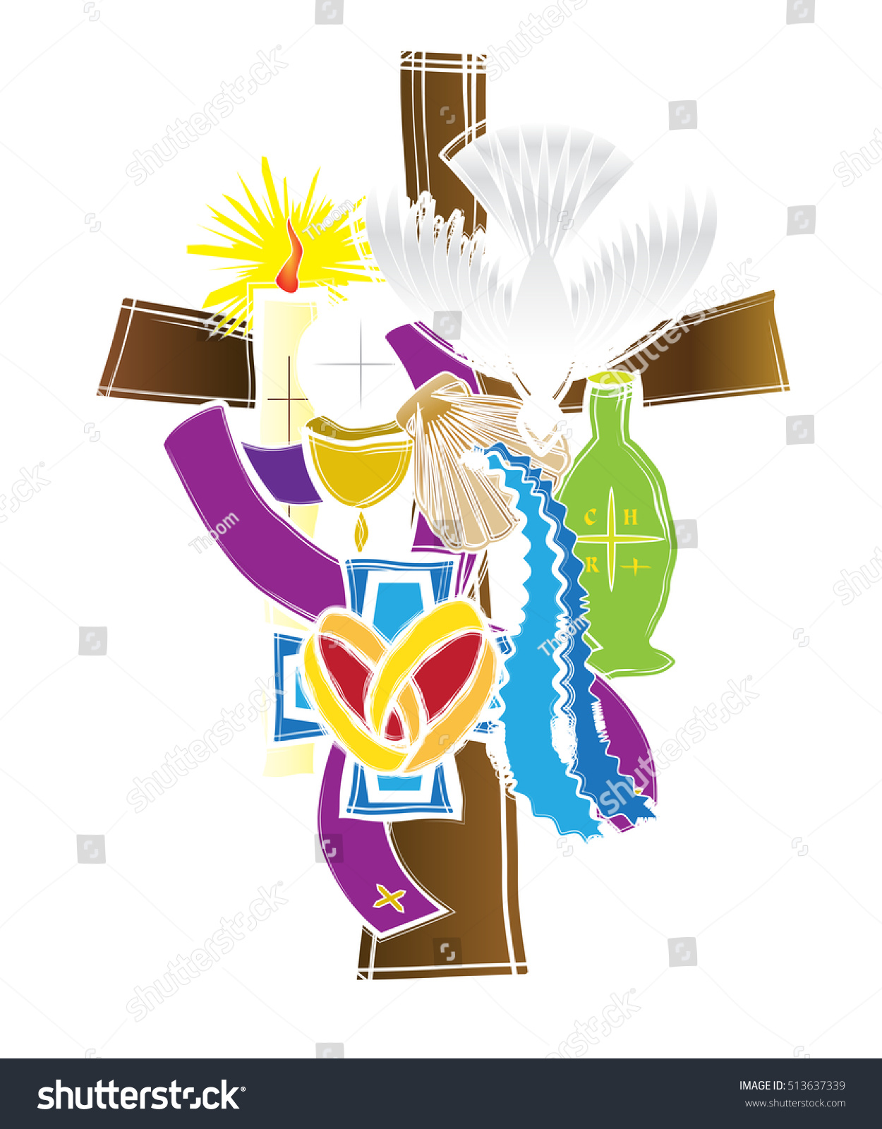 Symbols Seven Sacraments Catholic Church Abstract Stock Vector