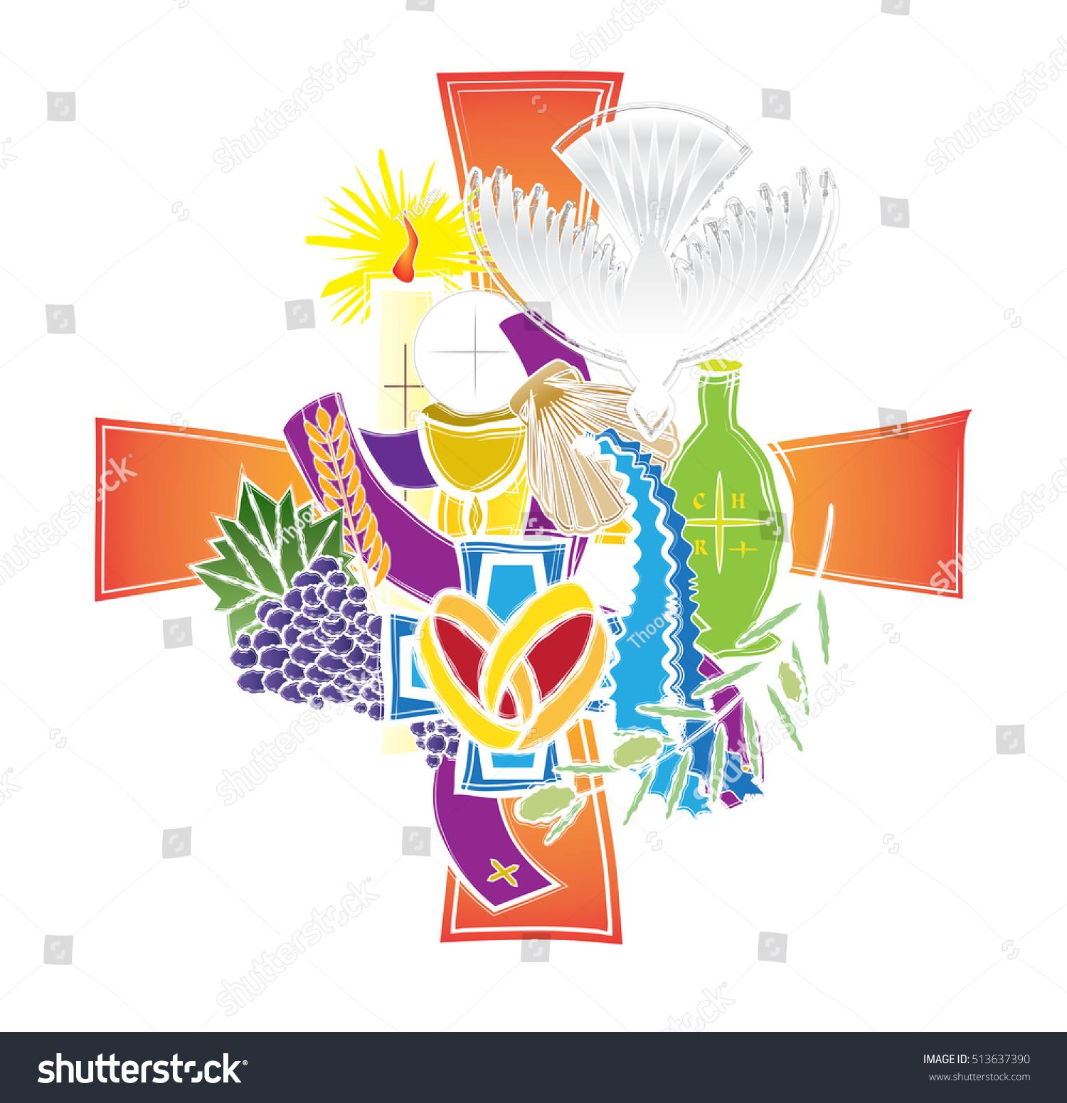 Symbols seven sacraments catholic church abstract stock vector symbols of the seven sacraments of the catholic church abstract artistic modern color vector religious biocorpaavc Image collections