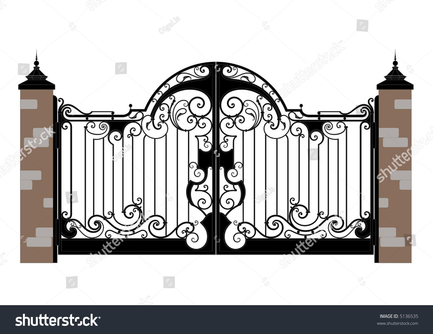 Ornate smart forged iron gate accurate drawing sketch of
