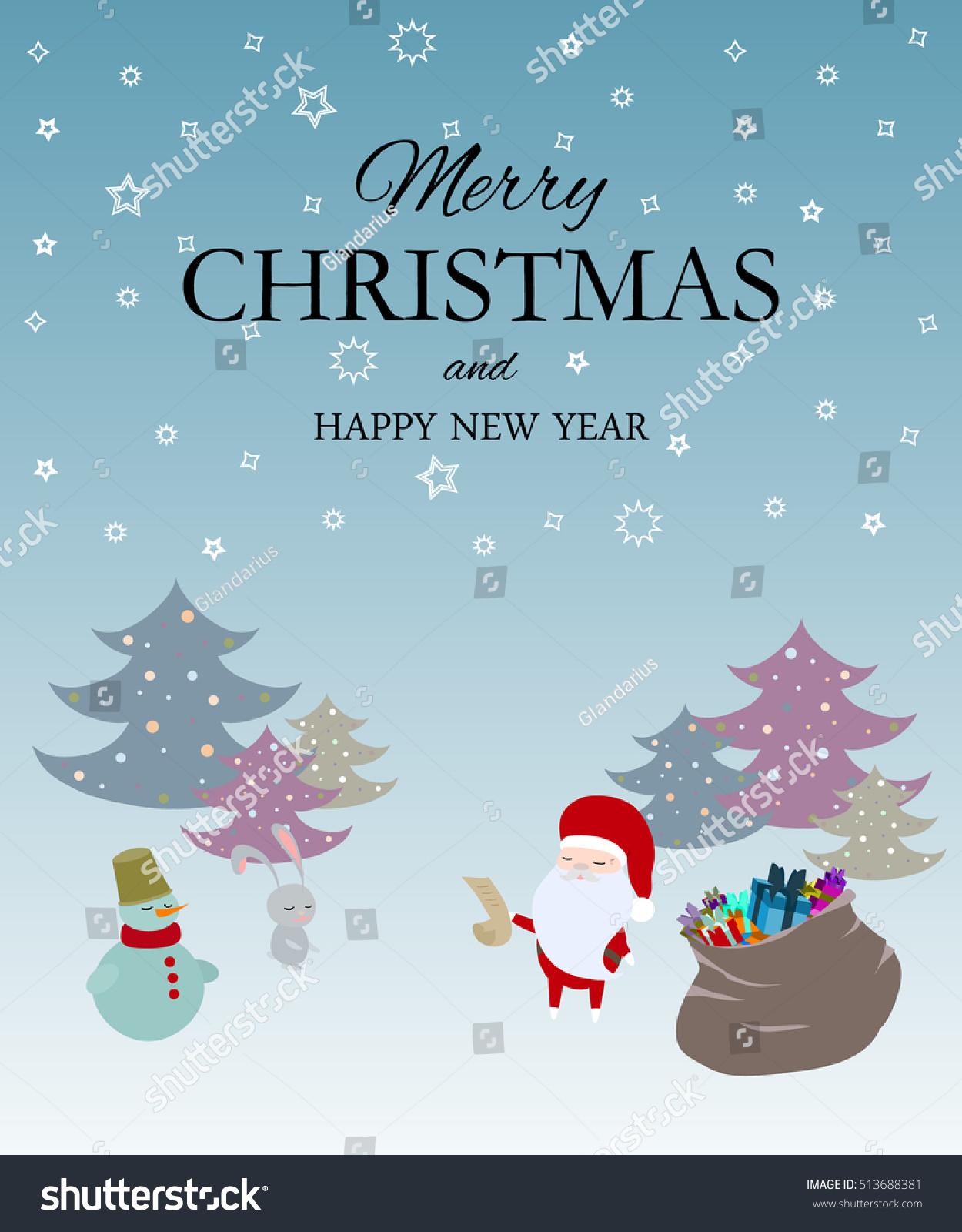 Xmas Greeting Card Santa Snowman Hare Stock Vector (Royalty Free ...