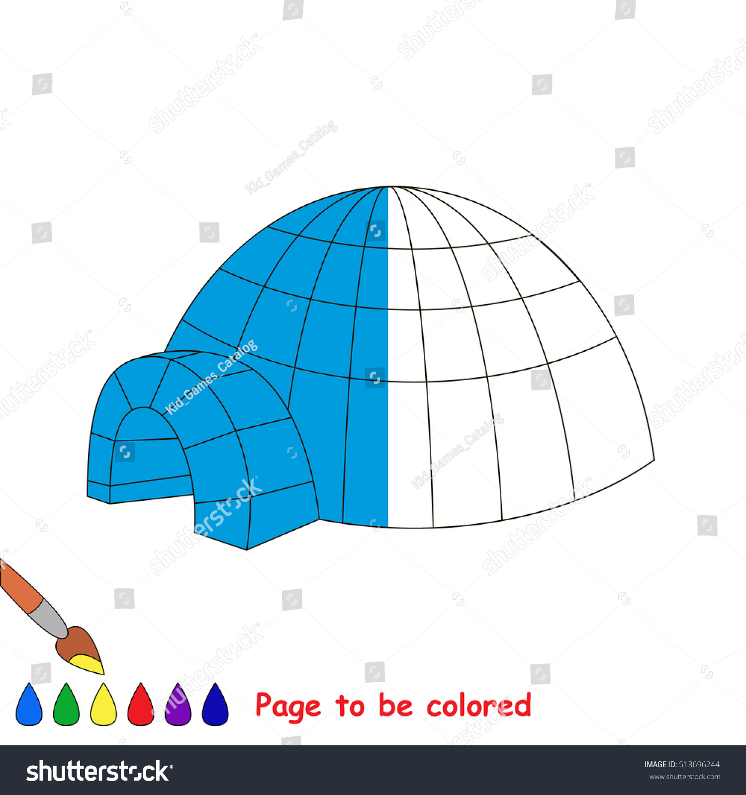 Igloo Be Colored Coloring Book Educate Stock Photo (Photo, Vector ...