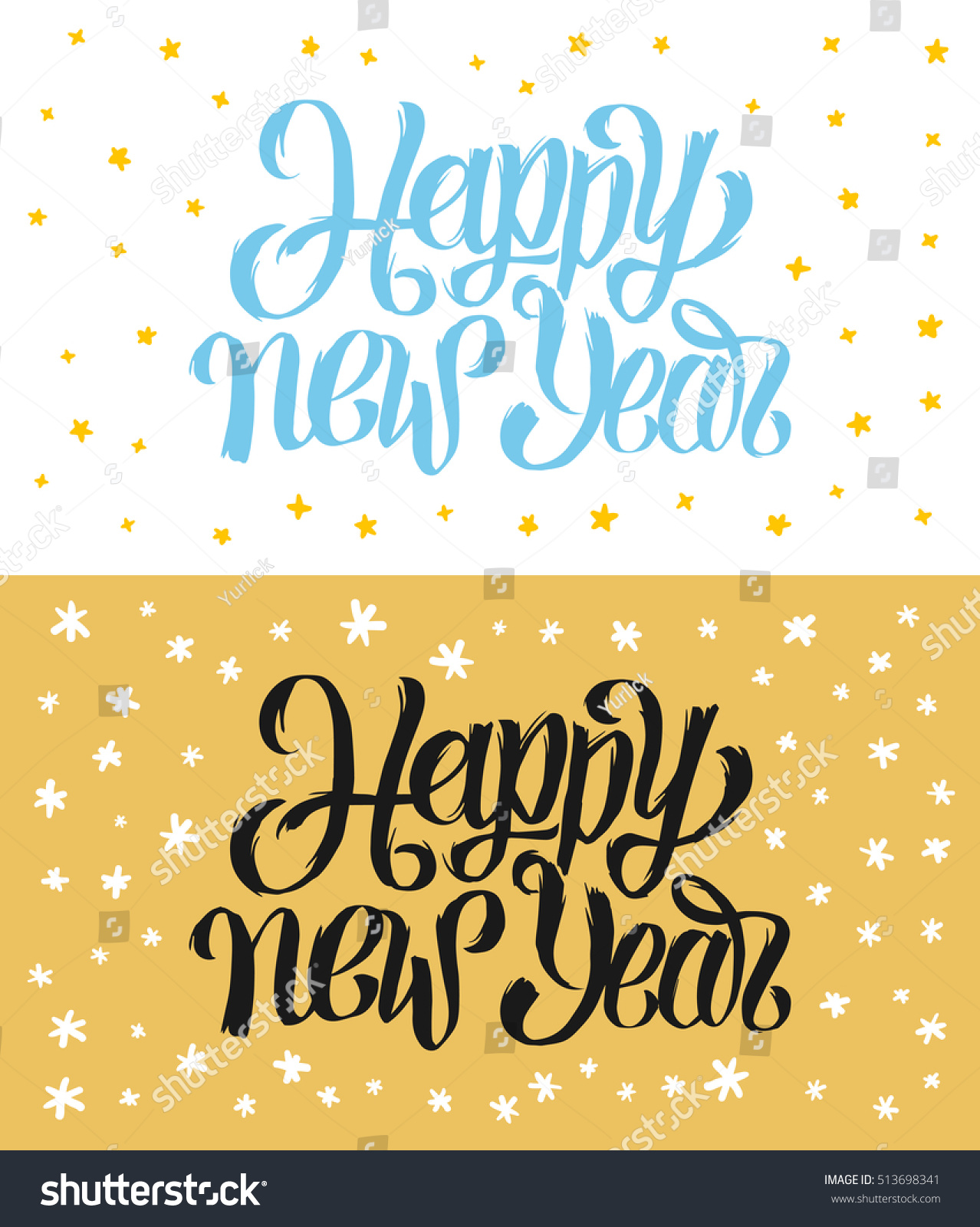happy new year handwritten calligraphy greeting cards collection vintage banner or tag for 2017 year