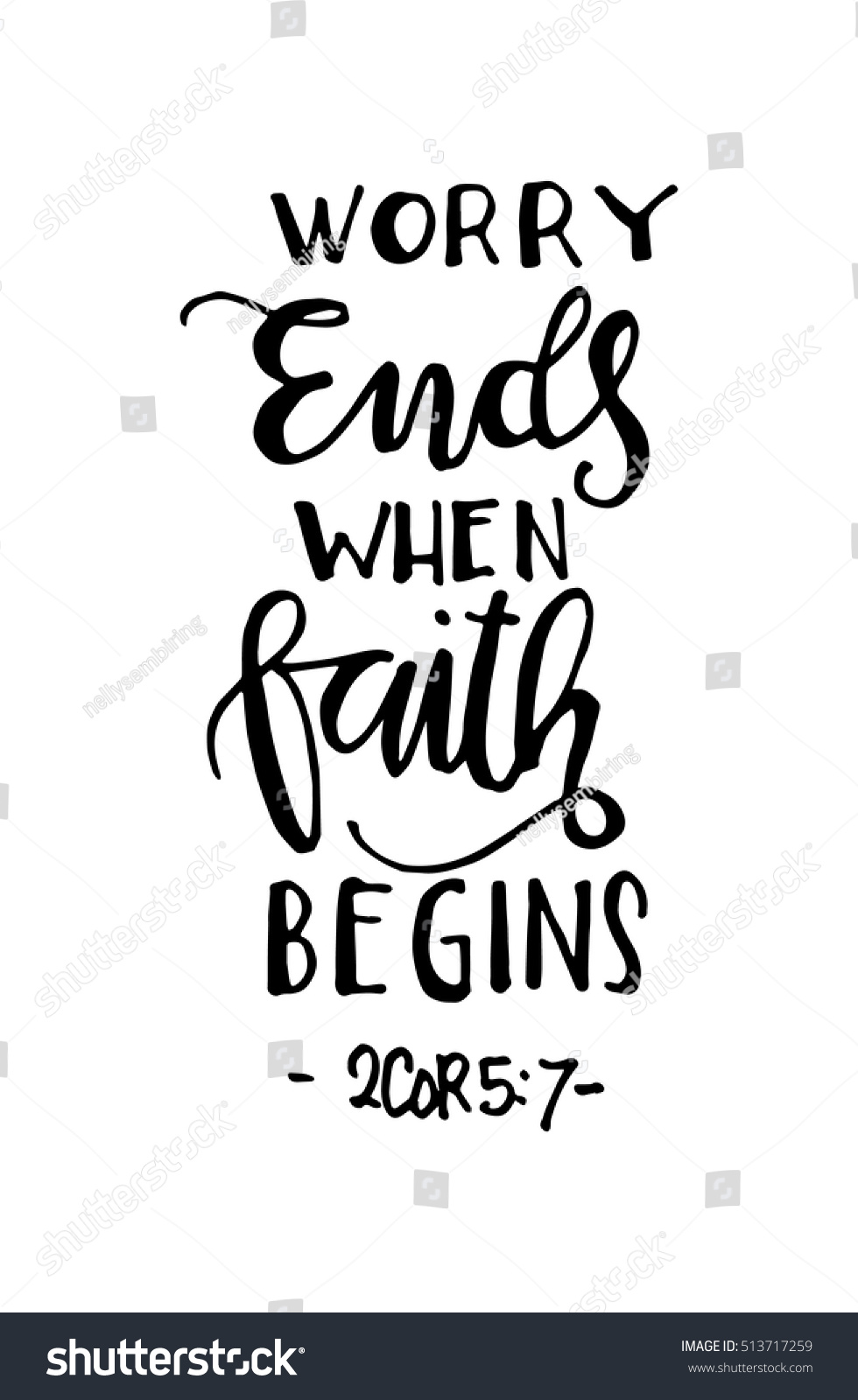 Worry ends when faith begins bible stock vector