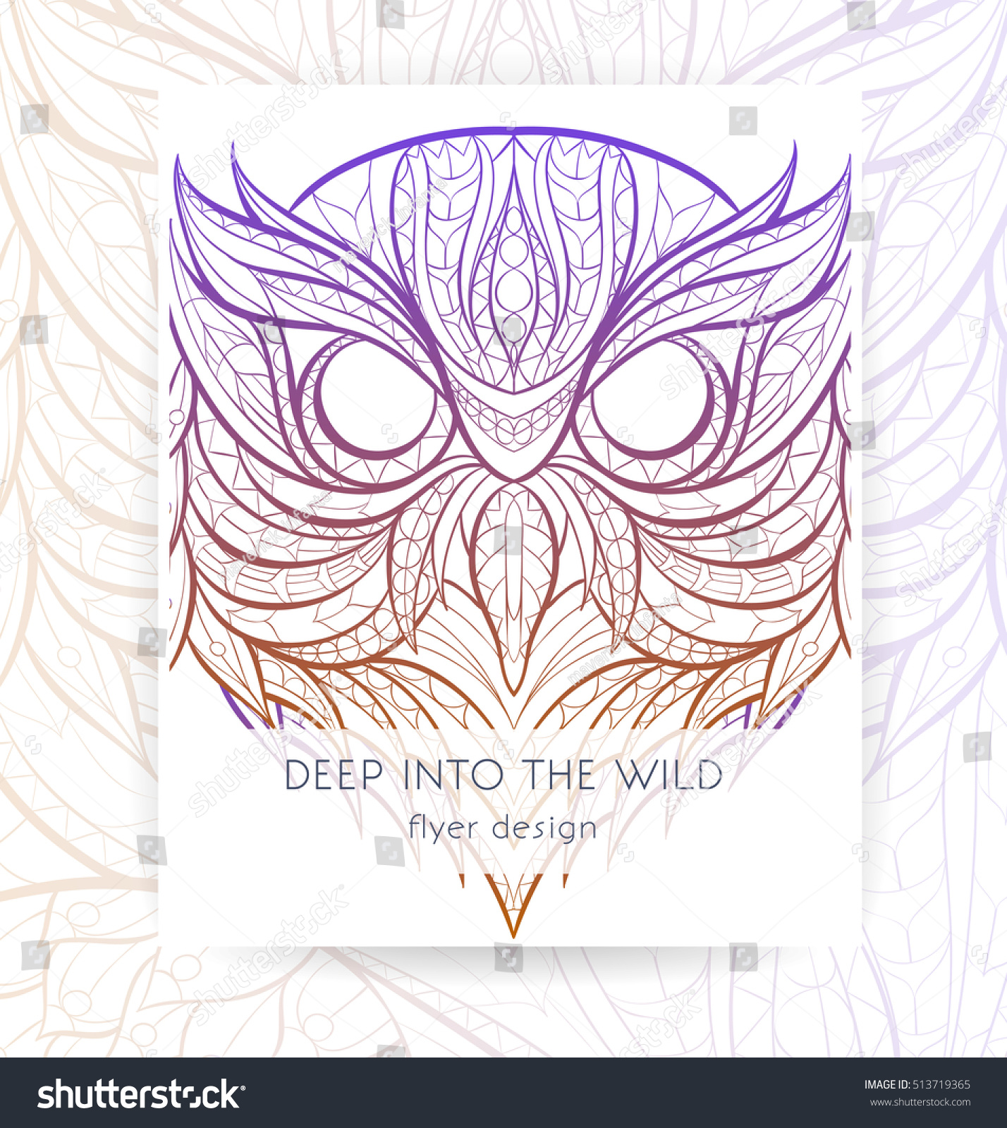 Flyer Template Patterned Head Owl Tattoo Stock Vector Royalty Free