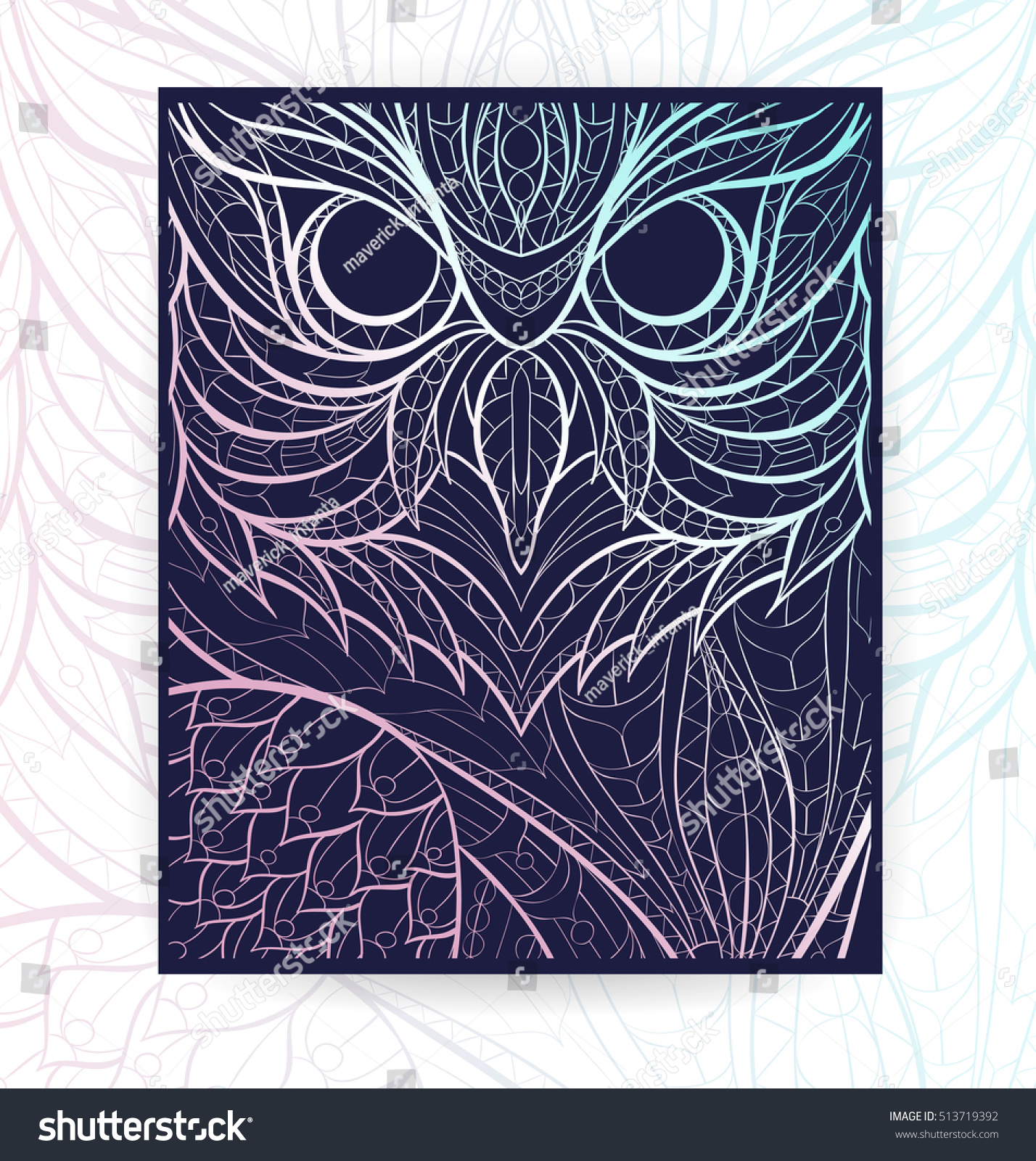 flyer template patterned owl tattoo design stock vector 513719392 shutterstock. Black Bedroom Furniture Sets. Home Design Ideas