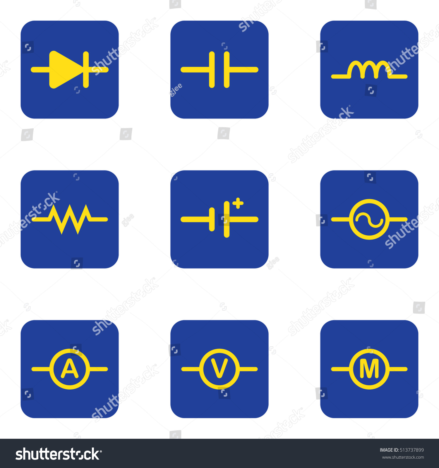Electronic Symbol Diagram Diode Capacitor Resistance Stock Vector HD ...