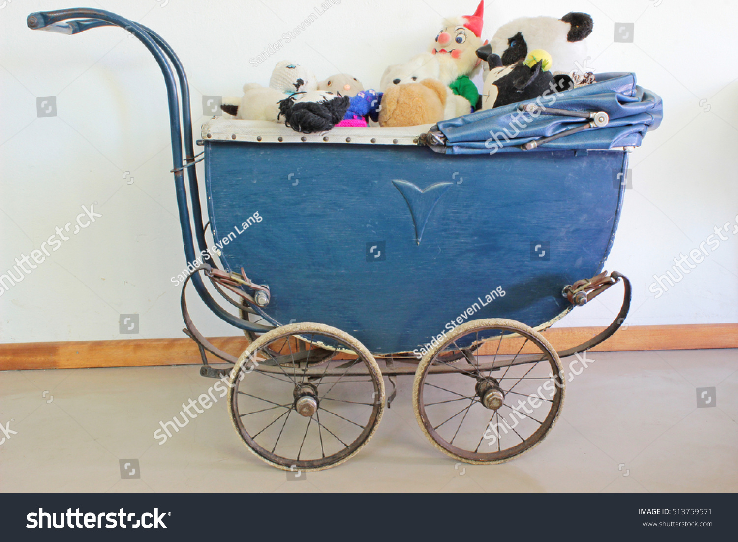 Vintage Baby Carriage Filled Equally Old Stock Photo